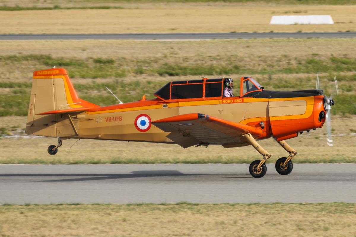 VH-UFB Nord 3202 (MSN 97) owned by Bert Filippi, at Jandakot Airport – Tue 26 January 2016 - Australia Day Air Show The Nord 3202 was a 1950s French miltary trainer aircraft. This one served with the French Army as 97/F-MAIP. Seen here landing on runway 24R. Photo © David Eyre