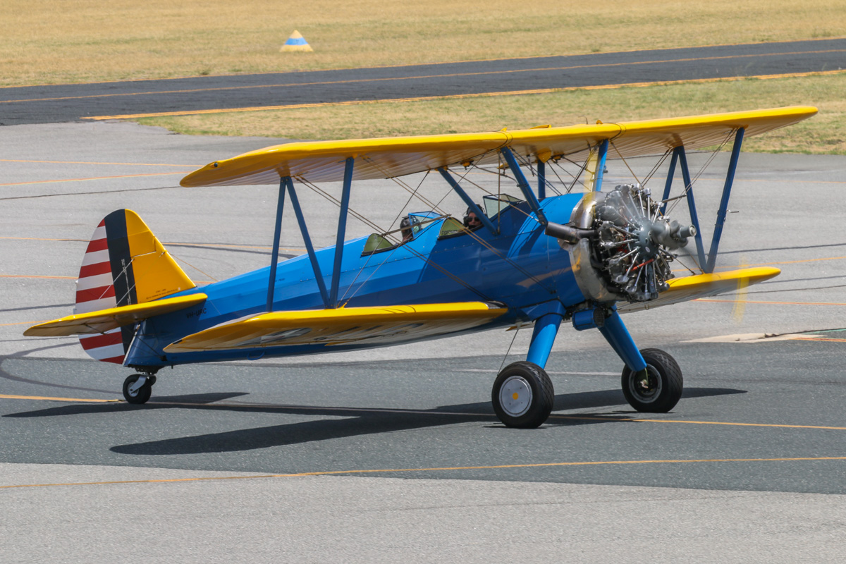 VH-URC Boeing A75N1 Stearman (PT-17 Kaydet) (MSN 75-1834) owned by Heckenbury Pty Ltd, at Jandakot Airport - Tue 26 January 2016 - Australia Day Air Show. It wears a World War Two style US Army Air Corps blue/yellow colour scheme. It was built in 1941 as a PT-17 Kaydet. Ex 41-8275, N58403. Photo © David Eyre