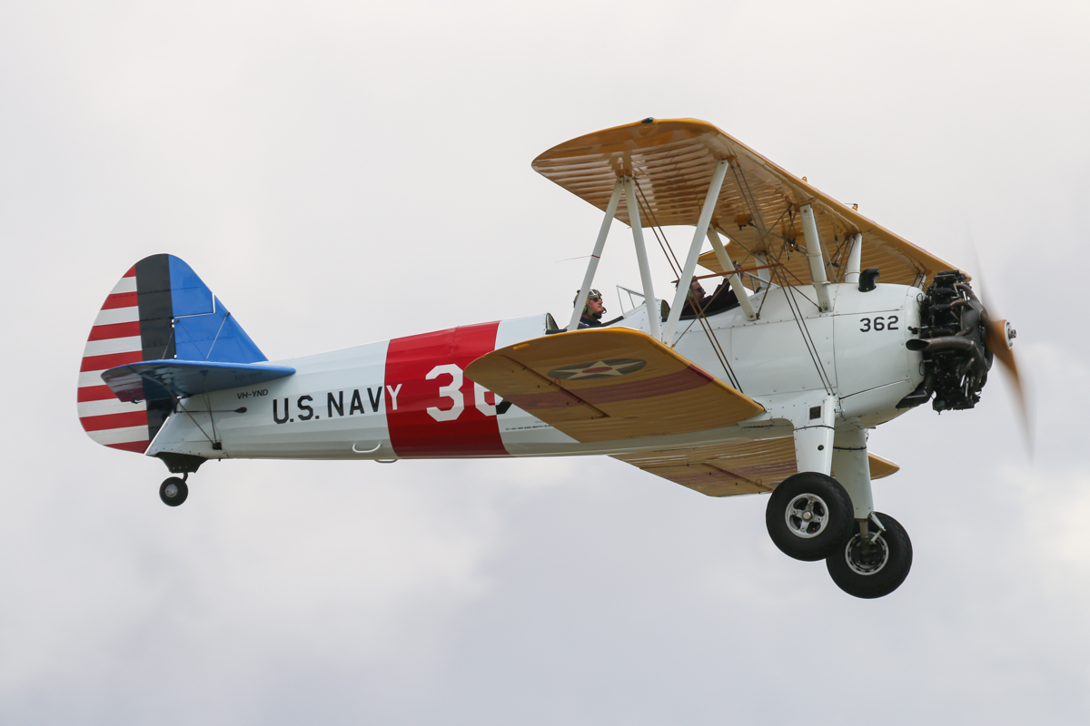 "VH-YND / ""42-755362 / 362"" Boeing E75 (N2S-5) Stearman (MSN 75-5362) owned by Carl Ende, at Jandakot Airport - Tue 26 January 2016 - Australia Day Air Show. Taking off to participate in the Oldtimers Flyby. Wears US Navy markings (but its true military serial number is 61240). It was built as a PT-13D with US Army Air Force serial 42-17199, but was transferred to the US Navy and designated as an N2S-5, with Bureau of Aeronautics serial number 61240. It is believed to have then gone to owner in Nicaragua before arriving in Australia. Photo © David Eyre"