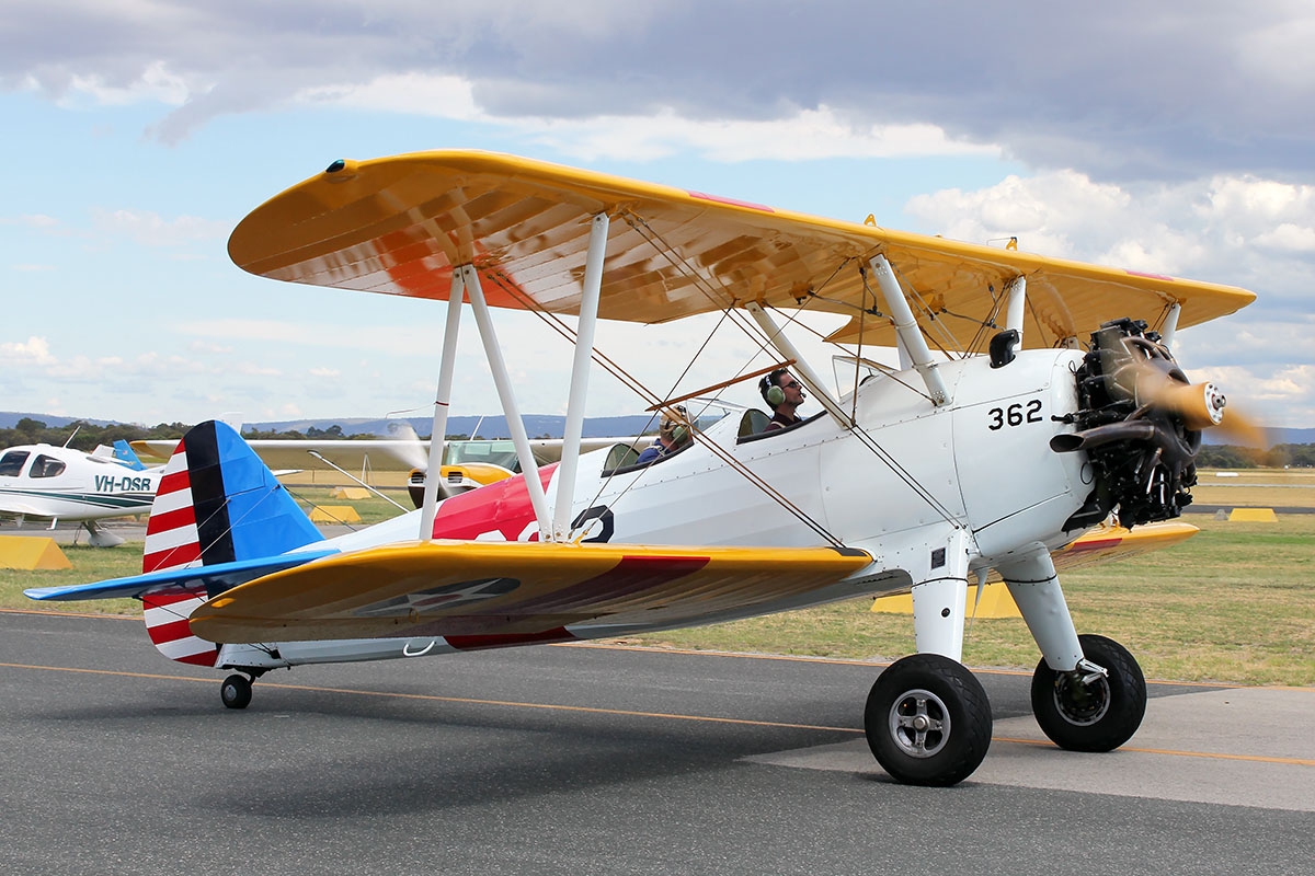 VH-YND Boeing E75 (N2S-5) Stearman (MSN 75-5362) piloted and owned by Carl Ende taxies out to take part in the Australia Day City of Perth Air Show.