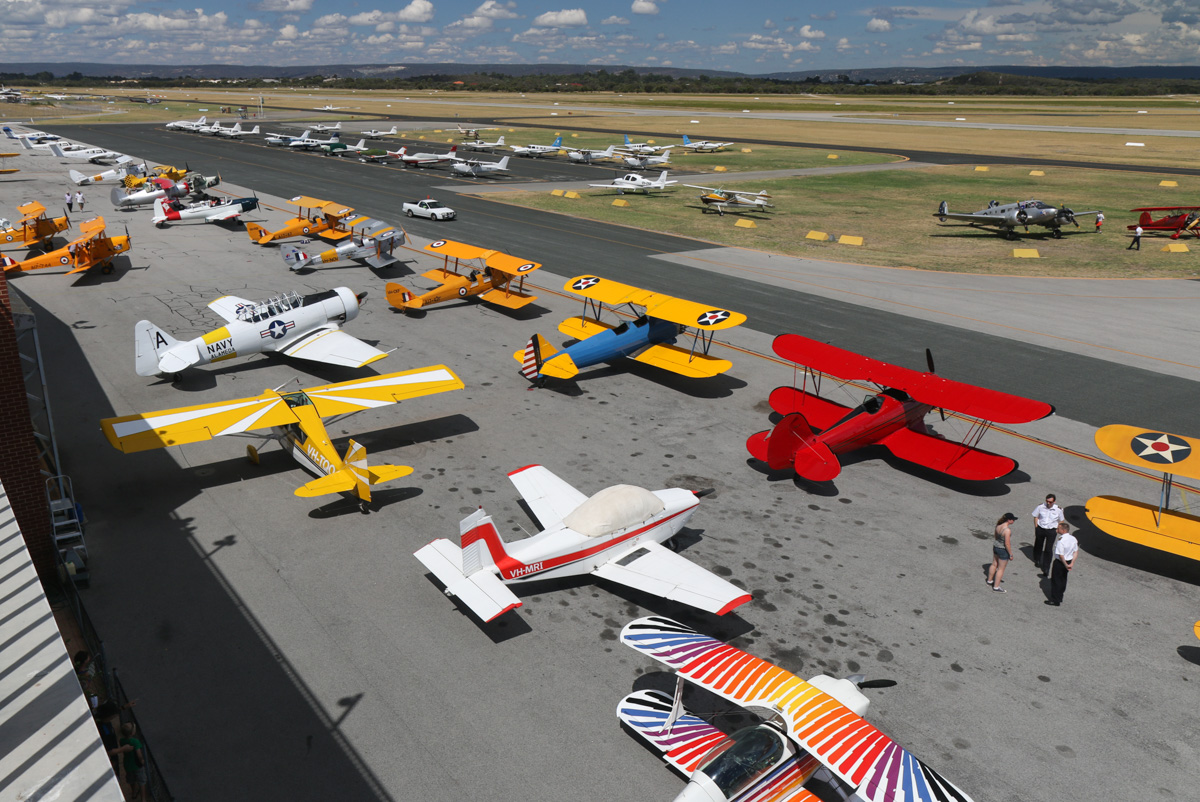 Aircraft line-up at Jandakot Airport - Tue 26 January 2016 - Australia Day Air Show. Photo © David Eyre