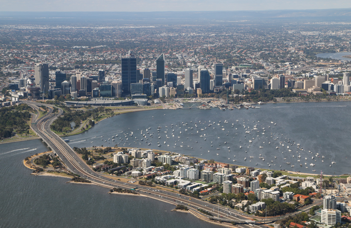 Perth city, Swan River and South Perth, Tue 26 January 2016 - Australia Day Air Show. View facing northeast towards Perth. A large number of private boats are anchored to watch the air show and the evening fireworks display. Photo taken from VH-BTP / A17-744 De Havilland DH-82A Tiger Moth (MSN DHA1075/T315) owned by Clark Rees Photo © David Eyre