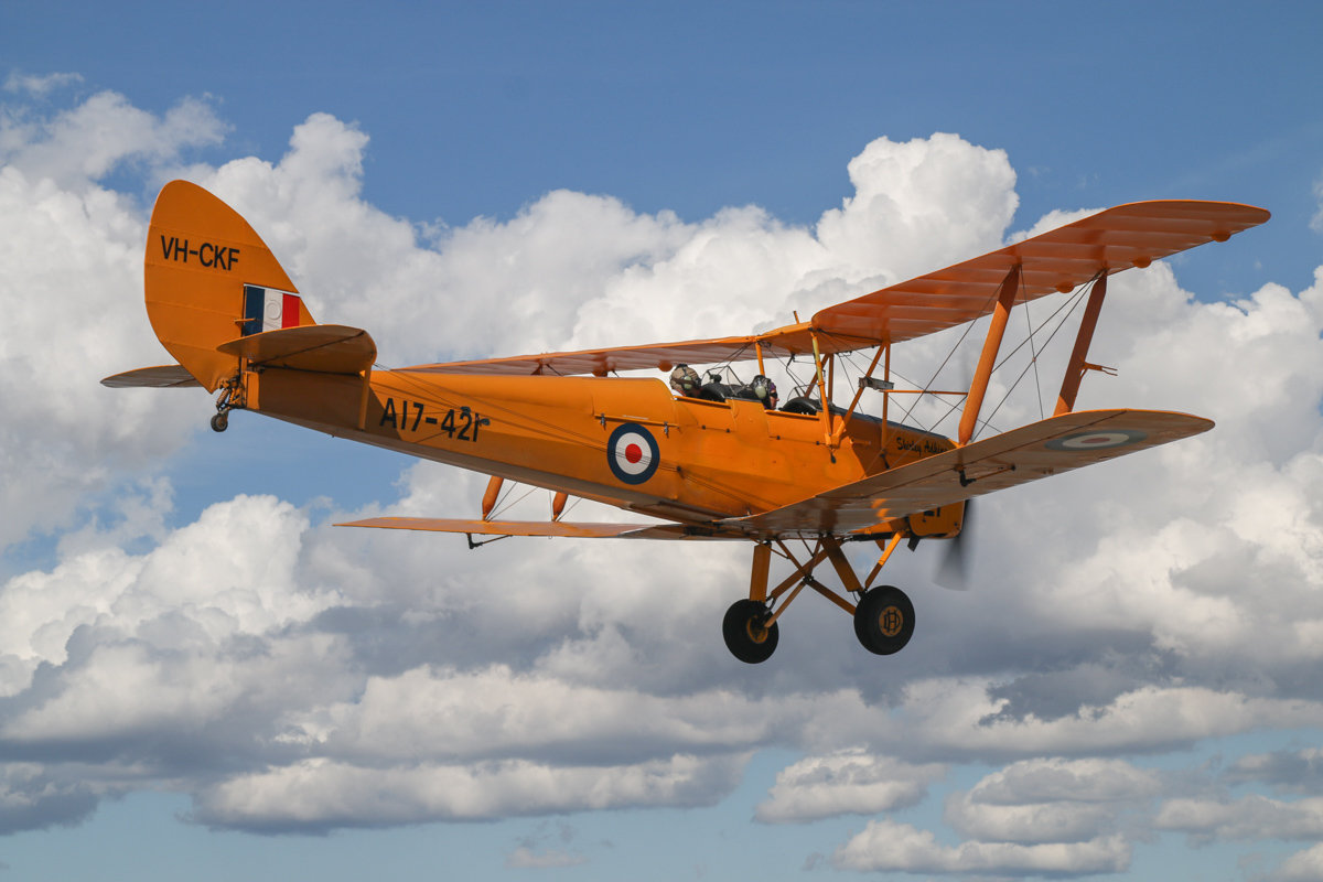 VH-CKF/A17-421 De Havilland DH-82A Tiger Moth (MSN DHA596/T200) owned by the Royal Aero Club of Western Australia, flown by Trevor Jones, over Northbridge, Tue 26 January 2016 - Australia Day Air Show. Photo taken from VH-BTP / A17-744 De Havilland DH-82A Tiger Moth (MSN DHA1075/T315) flown by Clark Rees. Photo © David Eyre