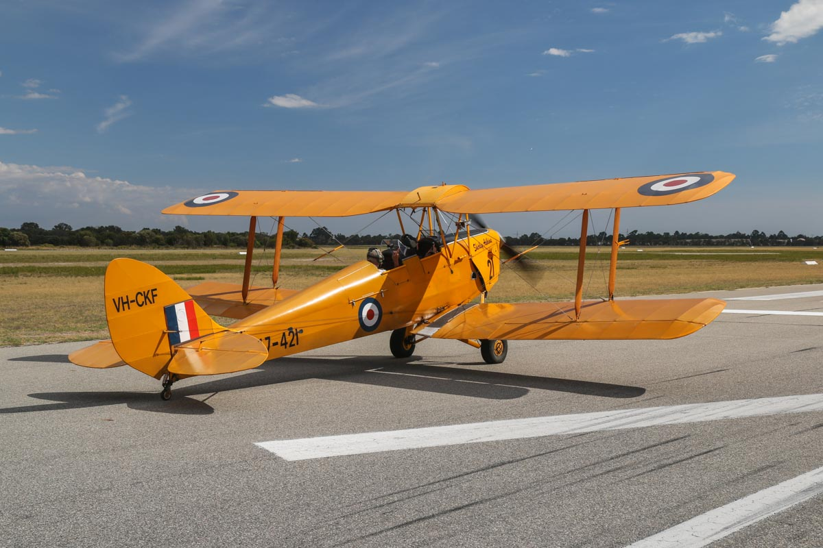 VH-CKF/A17-421 De Havilland DH-82A Tiger Moth (MSN DHA596/T200) owned by the Royal Aero Club of Western Australia Inc, flown by Trevor Jones , at Jandakot Airport - Tue 26 January 2016 - Australia Day Air Show. Lined up for take-off from runway 24R at 3:40pm. Photo taken from VH-BTP / A17-744 De Havilland DH-82A Tiger Moth (MSN DHA1075/T315) owned by Clark Rees Photo © David Eyre