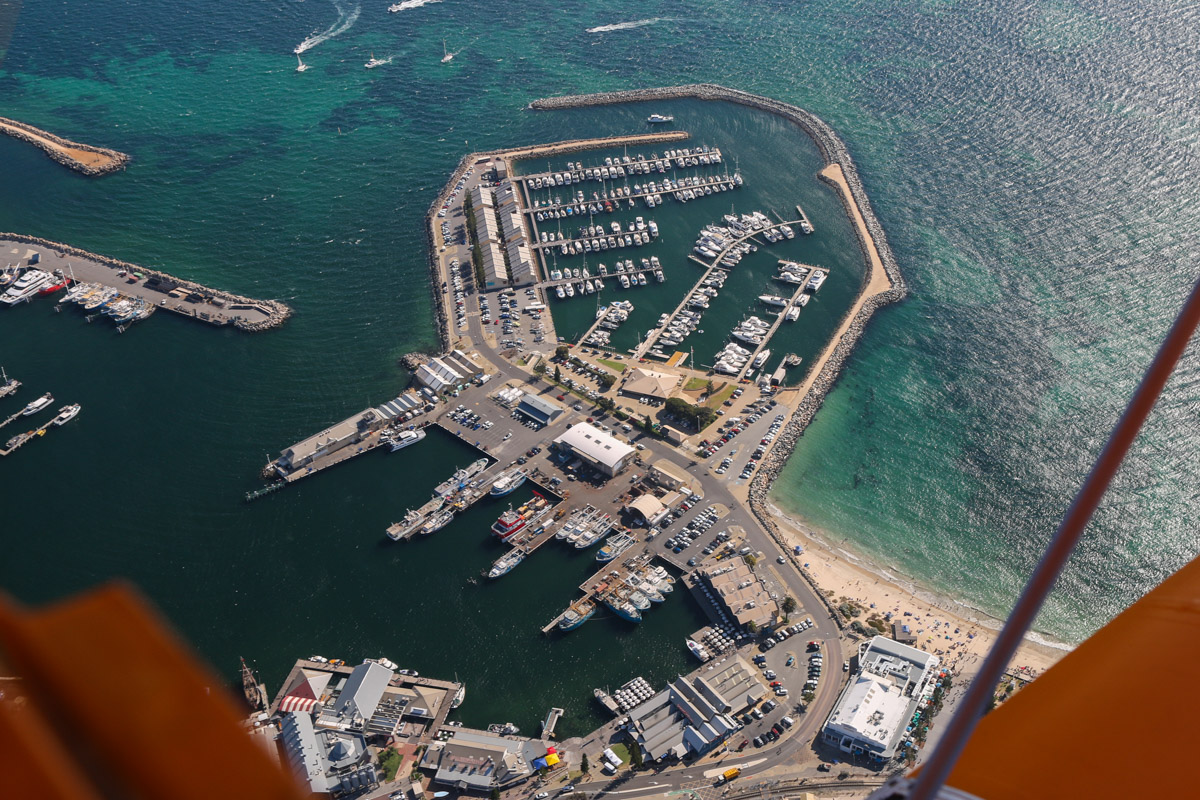 Fishing Boat Harbour (bottom), Challenger Harbour (top), and Bathers Beach (bottom right) seen from VH-BTP / A17-744 De Havilland DH-82A Tiger Moth (MSN DHA1075/T315) flown by Clark Rees, over Fremantle, Tue 26 January 2016 - Australia Day Air Show. Photo © David Eyre