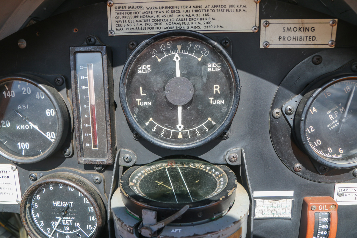 Instrument panel in front cockpit of VH-BTP / A17-744 De Havilland DH-82A Tiger Moth (MSN DHA1075/T315) flown by Clark Rees, over North Lake - Tue 26 January 2016 - Australia Day Air Show. Heading back to Jandakot at 1,700 feet and 80 knots indicated airspeed, 1880 RPM. Photo © David Eyre