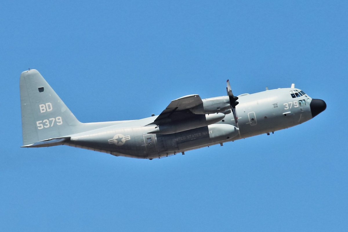 165379/BD-379 Lockheed C-130T Hercules (MSN 382-5430) of VR-64 'Condors', US Navy Reserve, at RAAF Base Pearce – Thu 11 February 2016. VR-64 is a Fleet Logistics Support Squadron based at Joint Base McGuire-Dix-Lakehurst, New Jersey, USA, and operates three C-130T aircraft. This aircraft is seen here taking off from runway 18 at 3pm to Darwin, using the callsign 'CONVOY 7608'. Photo © Jonathan Williams