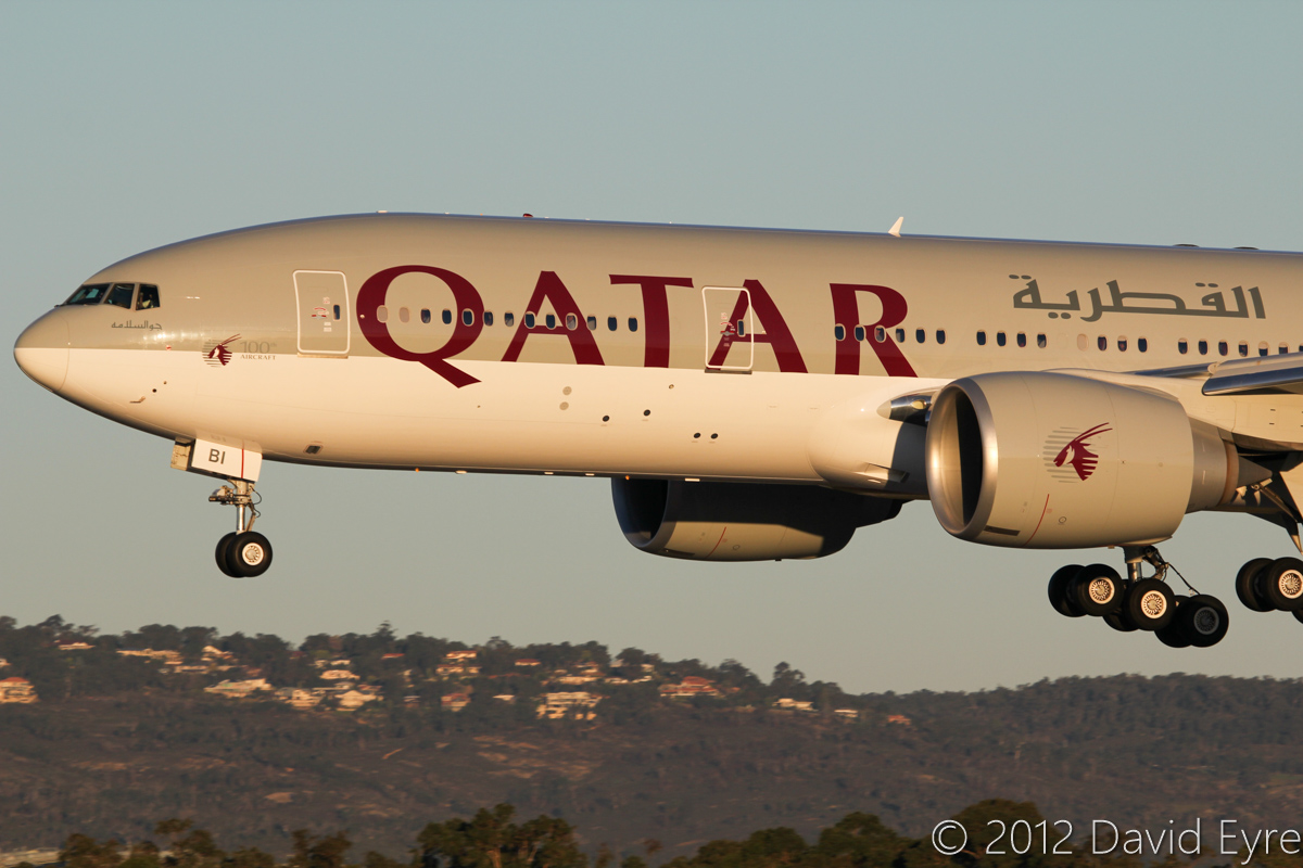 A7-BBI Boeing 777-2DZ LR (MSN 41061/962) of Qatar Airways, at Perth Airport - 3 July 2012. Landing on runway 03 at Perth at 16:55, on the inaugural service by Qatar Airways from Doha. Photo © David Eyre