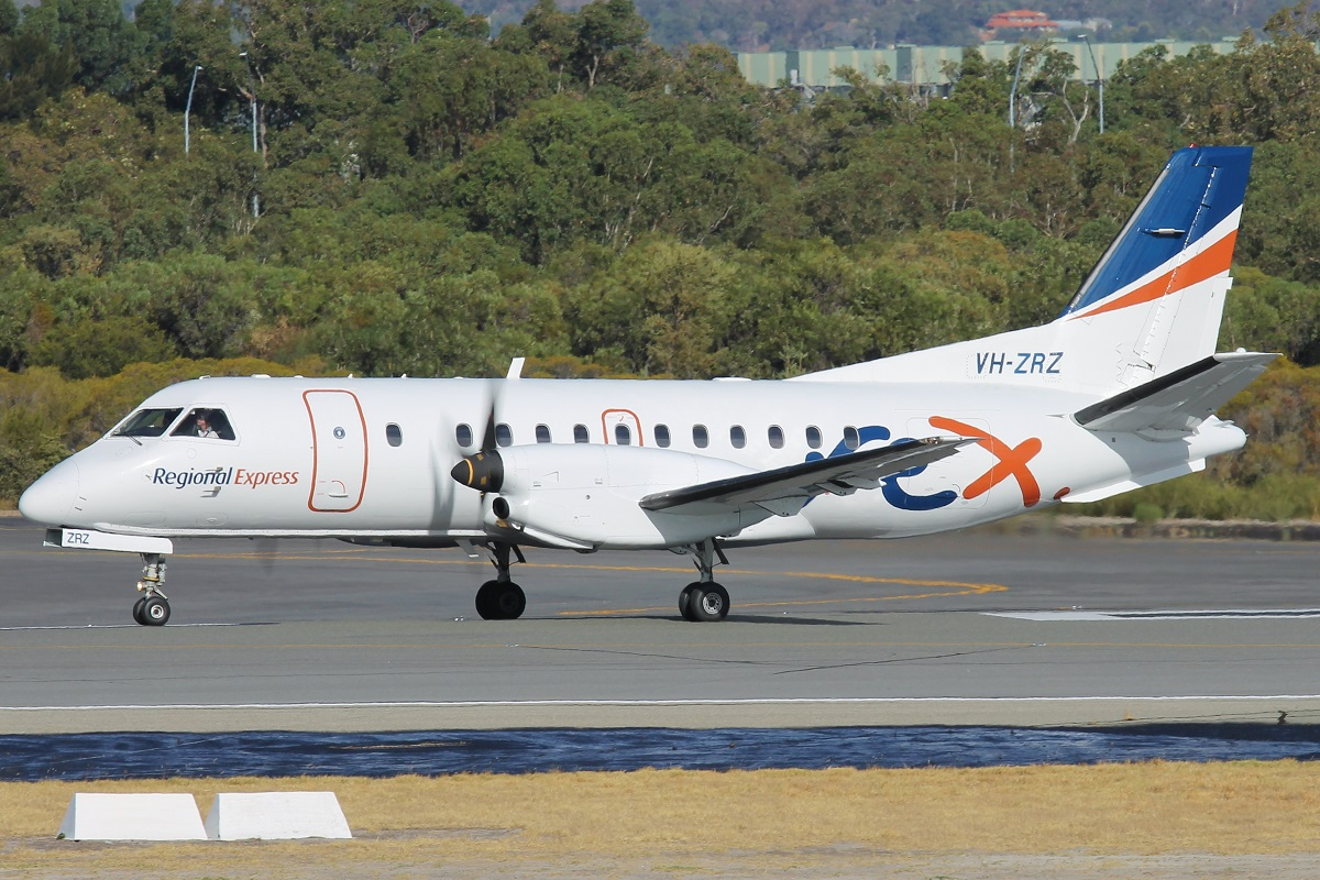 VH-ZRZ Saab 340B (MSN 340B-388) owned by Regional Express (REX), at Perth Airport – 18 March 2016.