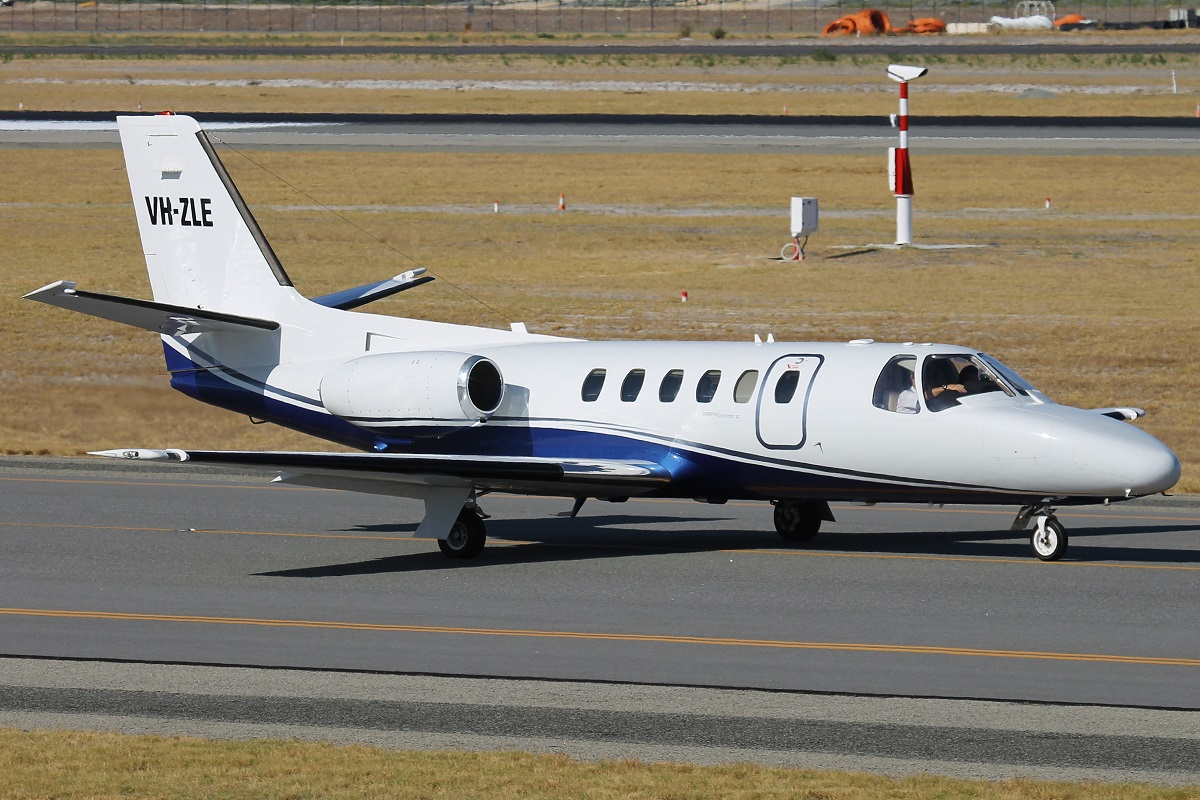 VH-ZLE Cessna 550 Citation (MSN 550-0347) of Corporate Aircraft Charter Pty Ltd at Perth Airport – 18 March 2016.