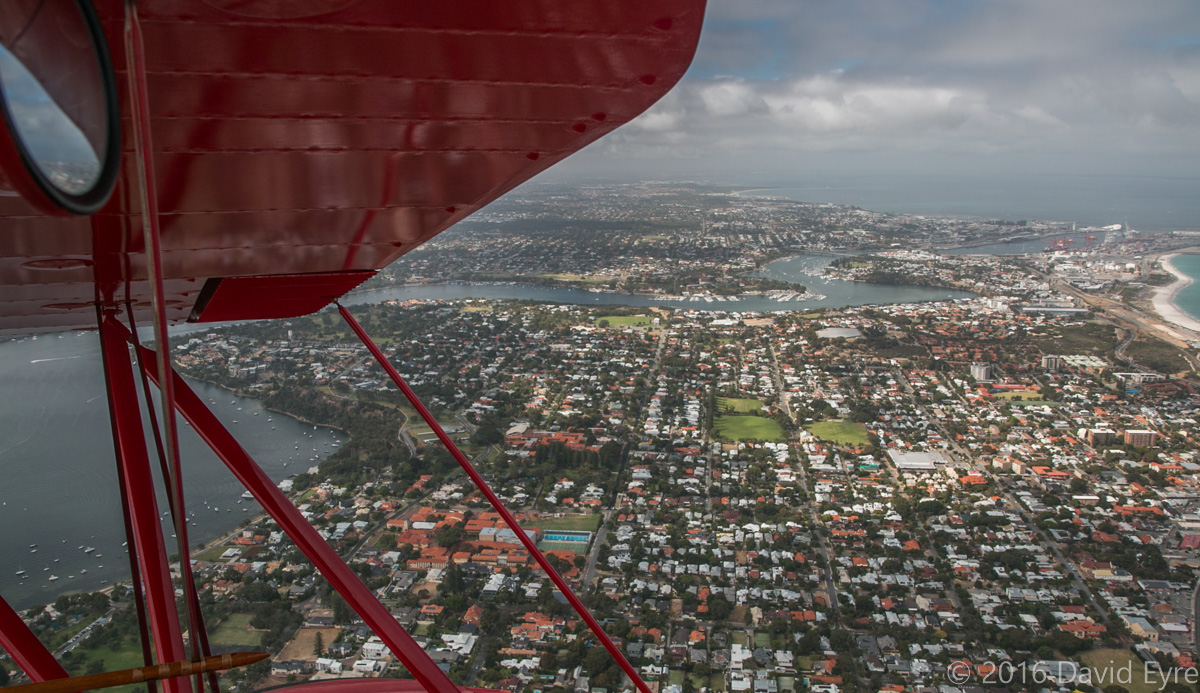 View south towards Fremantle and Mosman Park, seen from VH-YRB WACO Aircraft YMF-F5C (MSN F5C105), owned by Archie Dudgeon, heading northeast over Claremont, Perth - Sun 28 February 2016. Photo © David Eyre
