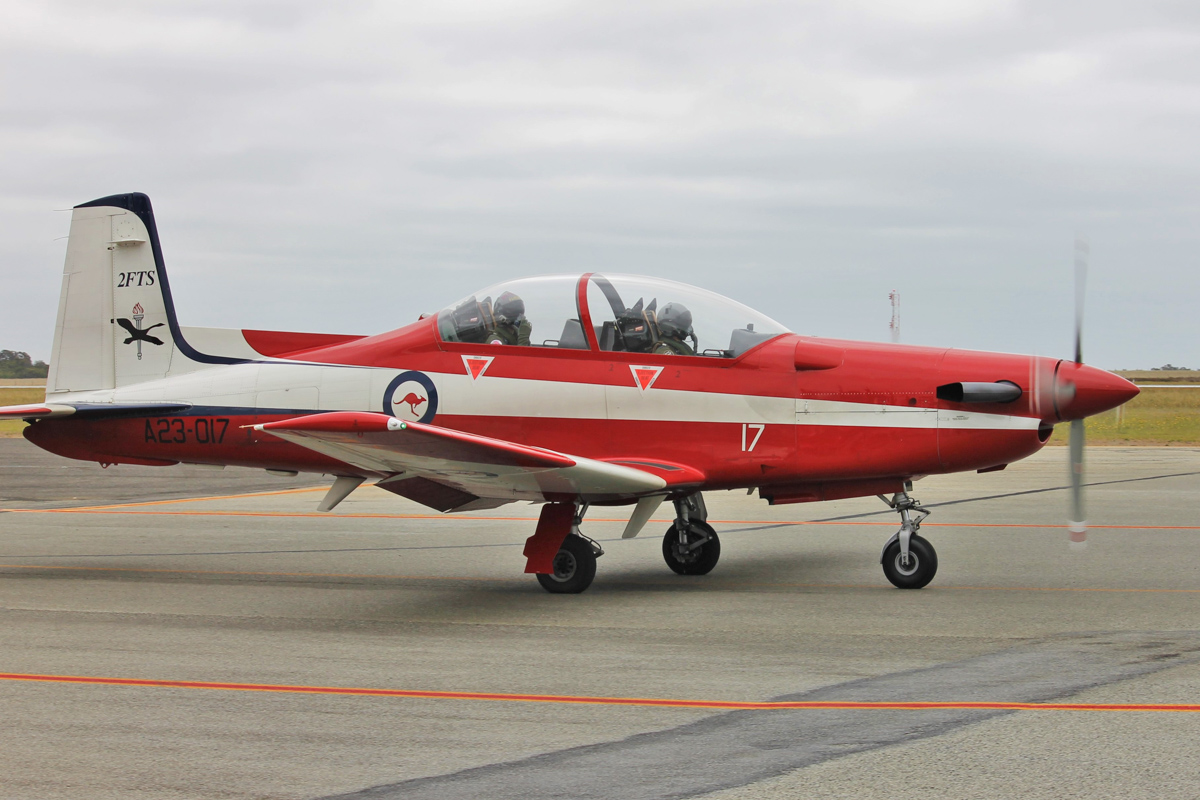 A23-017 Pilatus PC-9/A (MSN 517) of 2 FTS, RAAF, at Albany Airport - Thu 3 March 2016. A detachment of up to nine PC-9/As from Number 2 Flying Training School (2FTS) and one RAAF Rescue helicopter (Bell 412EP VH-EPH) deployed from RAAF Base Pearce to conduct flight training from Albany Regional Airport from 21 February to 4 March 2016. 2FTS deploys to Albany once or twice a year to conduct the formation training phase of the Advanced Pilots' Course. Photo © Jonathan Williams