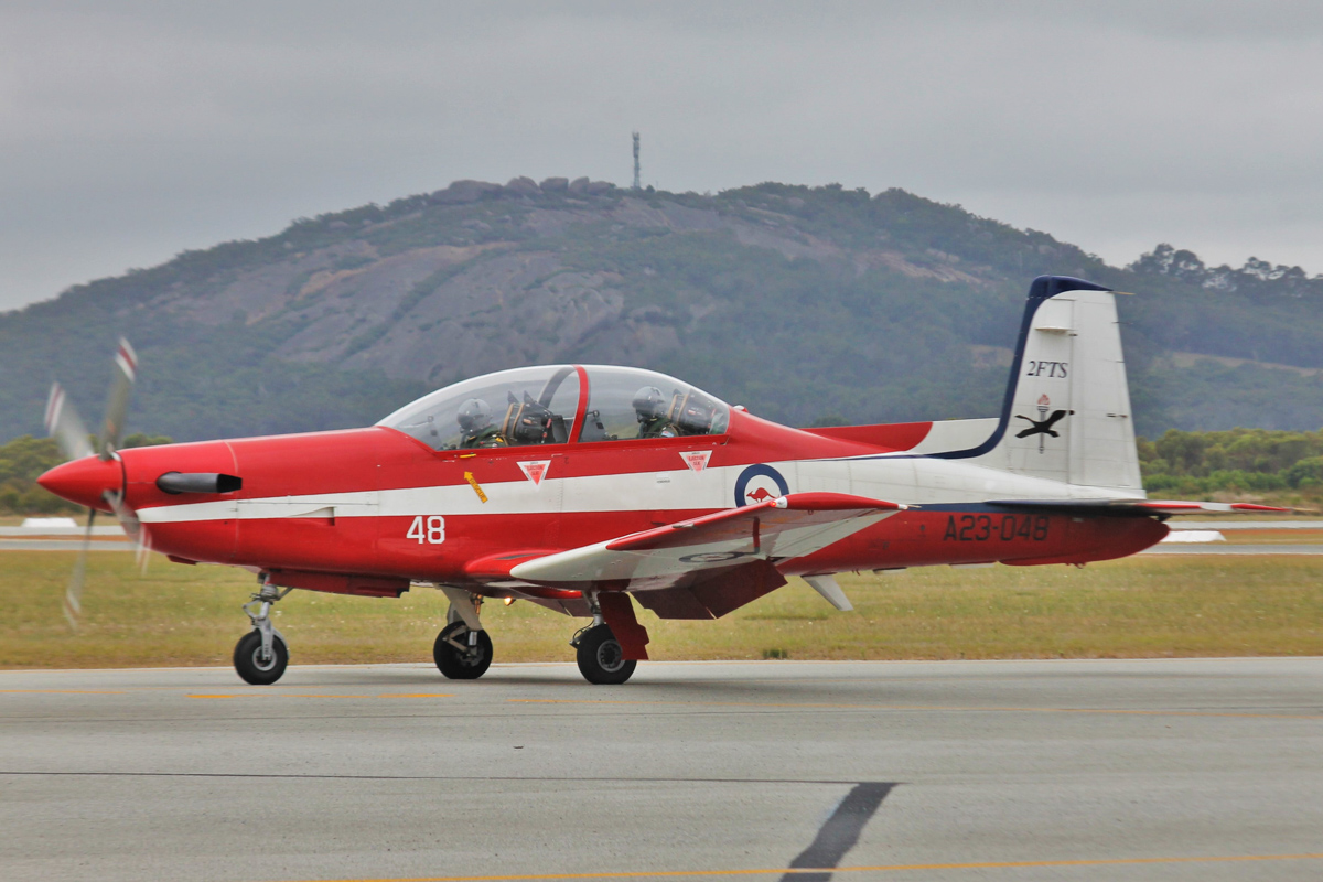 A23-048 Pilatus PC-9/A (MSN 548) of 2 FTS, RAAF, at Albany Airport - Thu 3 March 2016. A detachment of up to nine PC-9/As from Number 2 Flying Training School (2FTS) and one RAAF Rescue helicopter (Bell 412EP VH-EPH) deployed from RAAF Base Pearce to conduct flight training from Albany Regional Airport from 21 February to 4 March 2016. 2FTS deploys to Albany once or twice a year to conduct the formation training phase of the Advanced Pilots' Course. Photo © Jonathan Williams