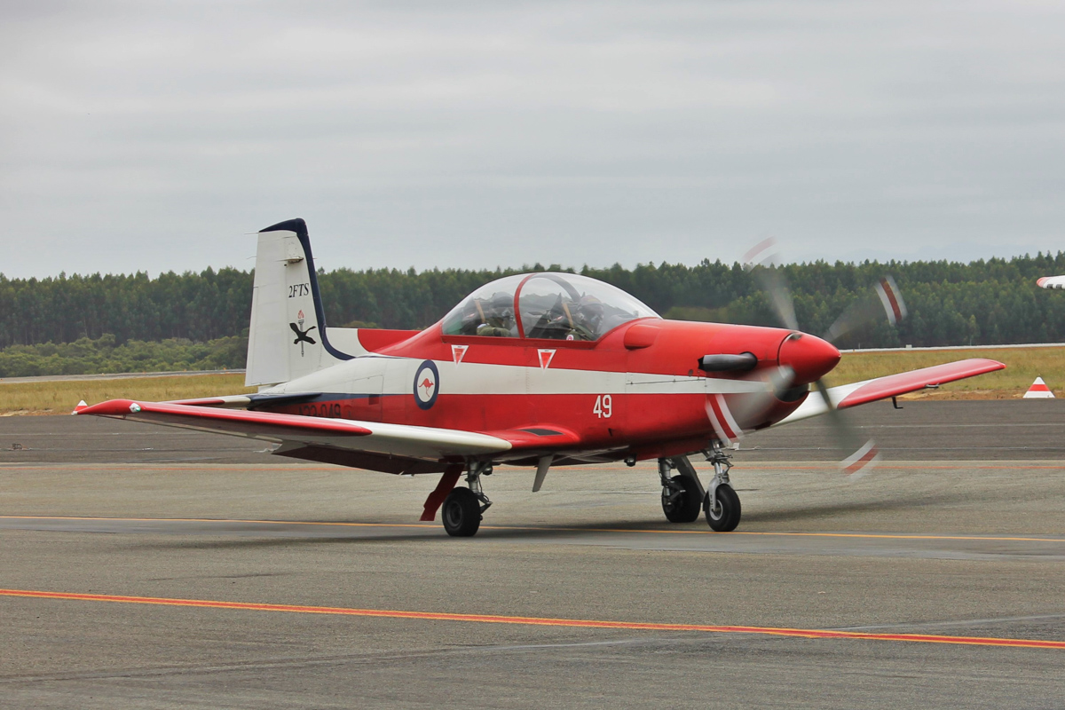 A23-049 Pilatus PC-9/A (MSN 549) of 2 FTS, RAAF, at Albany Airport - Thu 3 March 2016. A detachment of up to nine PC-9/As from Number 2 Flying Training School (2FTS) and one RAAF Rescue helicopter (Bell 412EP VH-EPH) deployed from RAAF Base Pearce to conduct flight training from Albany Regional Airport from 21 February to 4 March 2016. 2FTS deploys to Albany once or twice a year to conduct the formation training phase of the Advanced Pilots' Course. Photo © Jonathan Williams