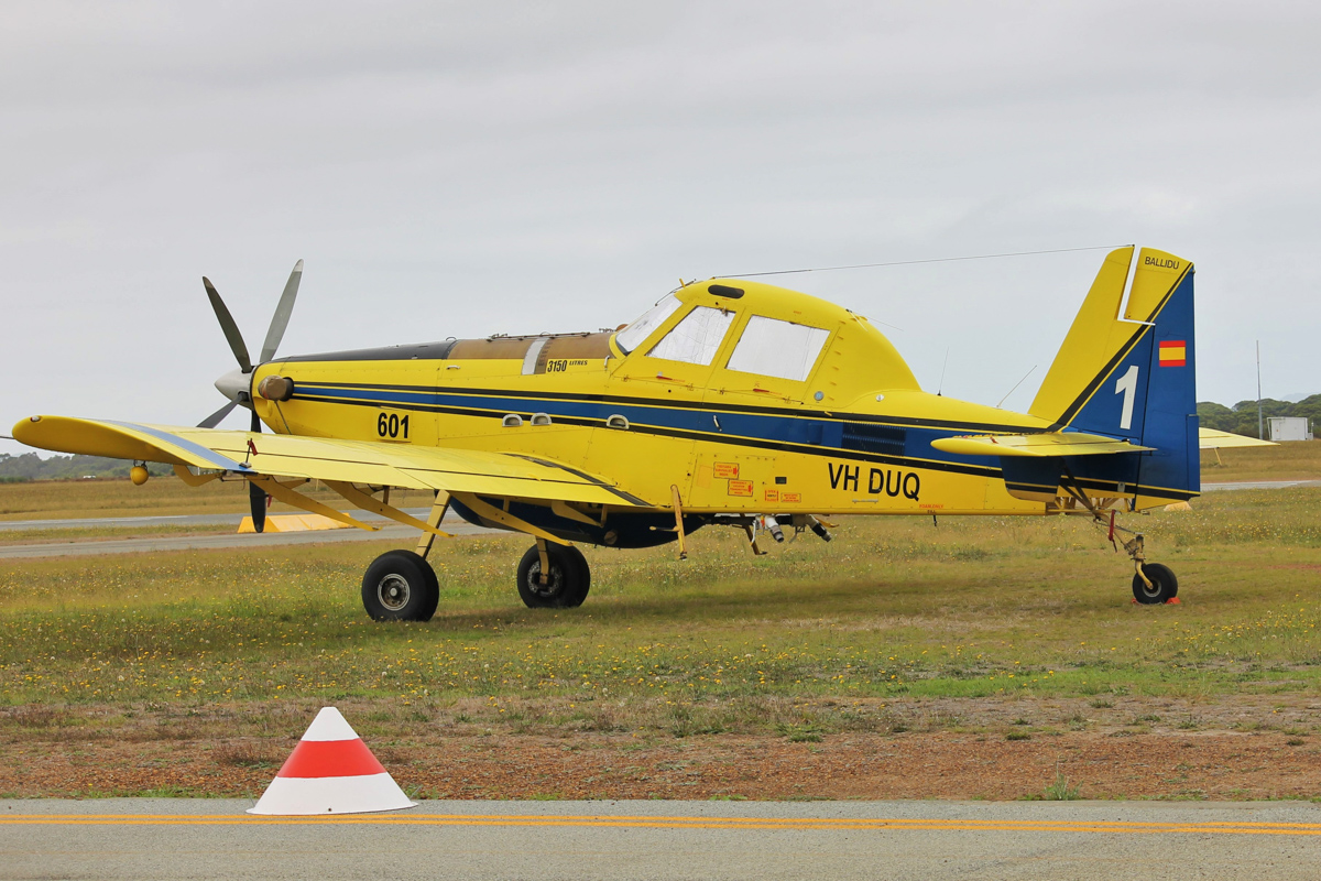 VH-DUQ / BOMBER 601 Air Tractor AT-802 (MSN 802-0241) of Dunn Aviation, named 'Ballidu', at Albany Airport - Thu 3 March 2016. Under contract to the WA Government for firefighting. Formerly registered in Spain as EC-JVN, it still wears a Spanish flag on the rudder. Photo © Jonathan Williams
