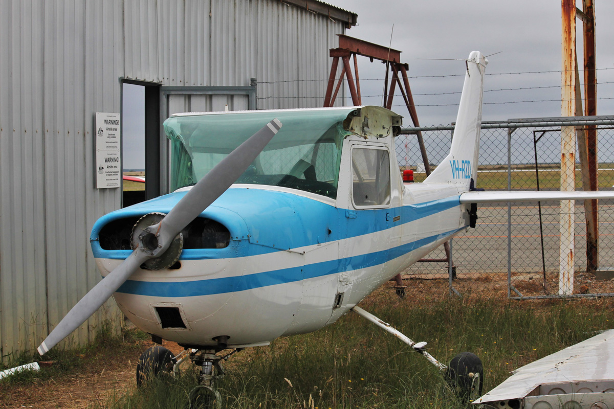 VH-RZD Cessna 150G (MSN 15064547), owned by James Leighton, of Wellstead, WA, at Albany Airport - Thu 3 March 2016. Originally added to the Australian register on 8 Sep 1966 ex N3147X, this aircraft was withdrawn from use and was cancelled from the register on 8 Dec 2015. The wings are detached and sitting next to the aircraft. Photo © Jonathan Williams