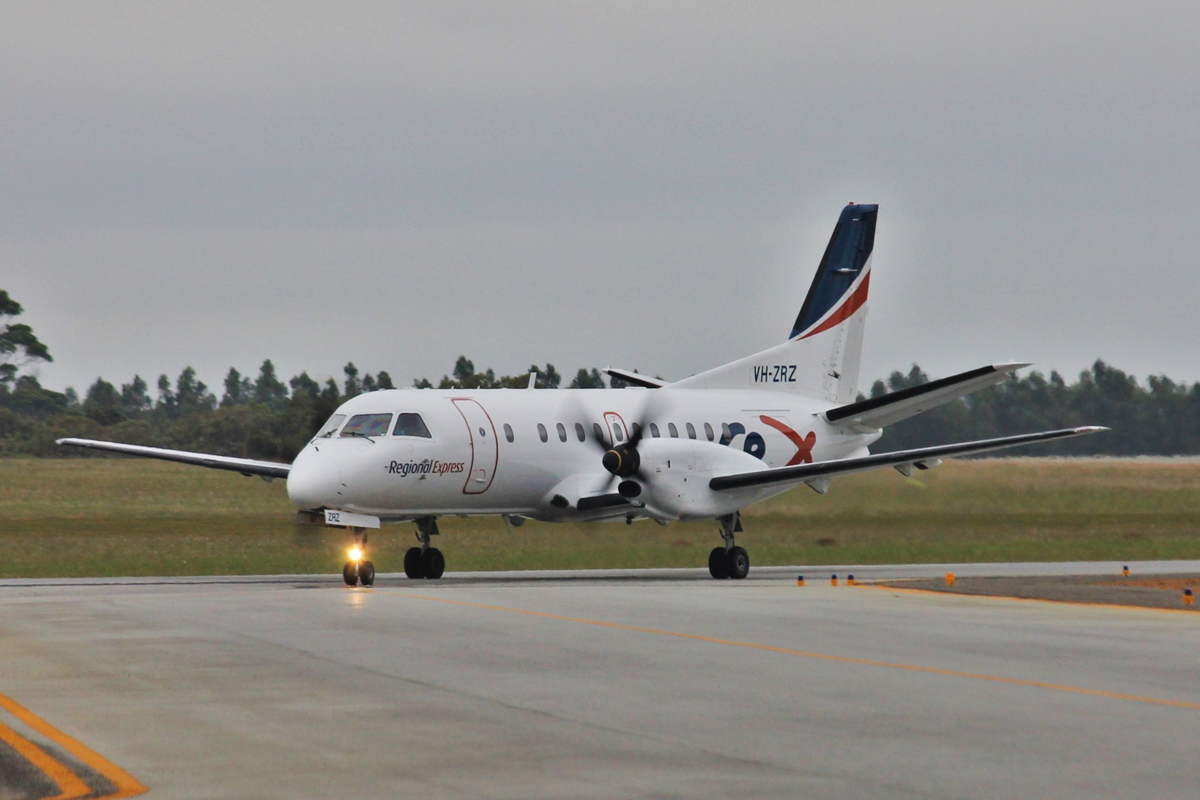 VH-ZRZ Saab 340B (MSN 340B-388) owned by Regional Express (REX), at Albany Airport - Thu 3 March 2016. Taxying in at 5:36pm as flight ZL2131 from Perth. Rex took over the Perth-Albany and Perth-Esperance regulated air routes from Virgin Australia Regional Airlines Fokker 50s, on 28 February 2016. VH-ZRZ was first flown on 7 Mar 1996 as SE-C88, and delivered to American Eagle as N388AE. It was delivered to Rex in April 2008. Photo © Jonathan Williams