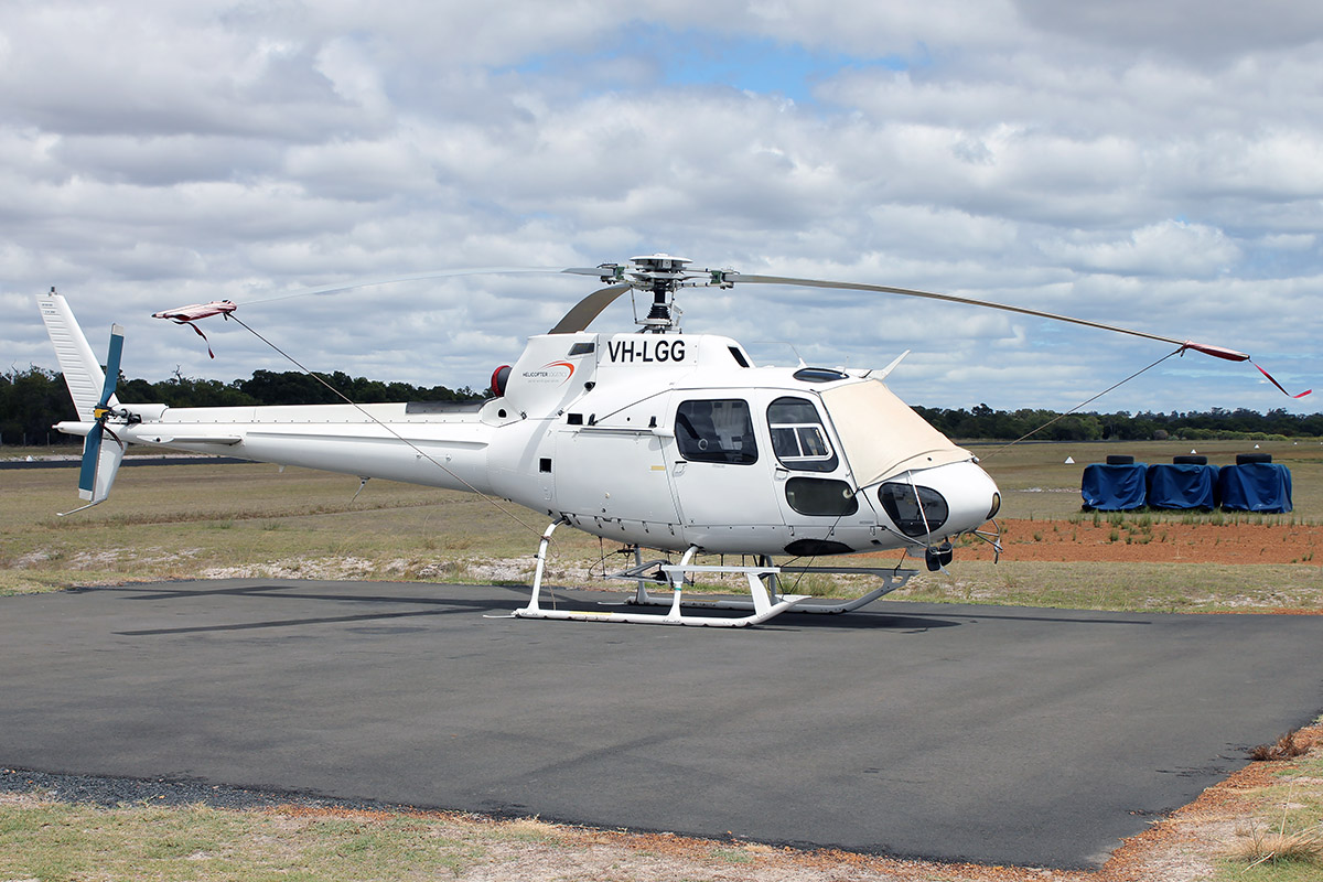 VH-LGG Eurocopter AS.350B2 (MSN 2406) owned by Helicopter Logistics Pty. Ltd., at Bunbury Airport – 5 March 2016