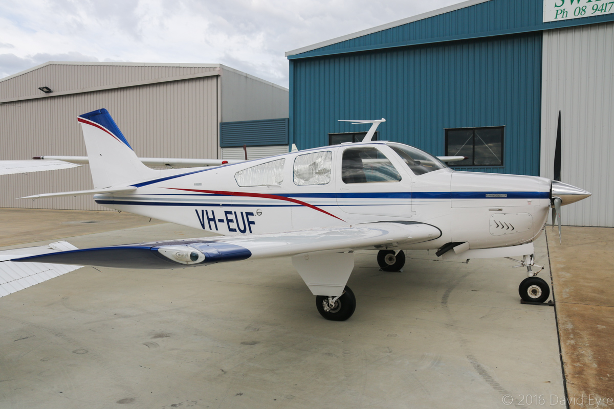 VH-EUF Beech F33A Bonanza (MSN CE-385) owned by Trenton King of Lake Grace, WA, at Jandakot Airport - Sat 19 March 2016. Built in 1972, ex N1616W. Photo © David Eyre