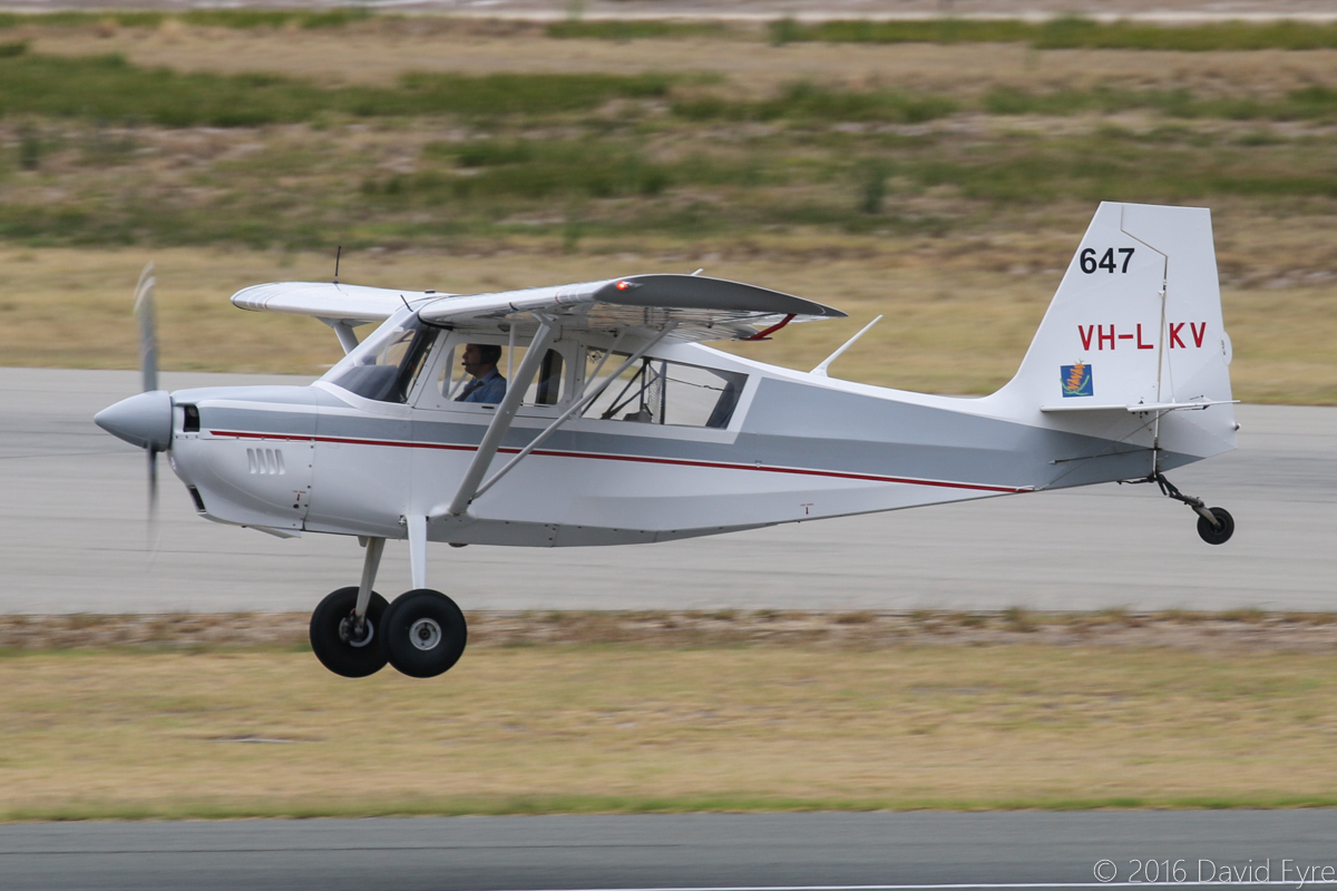 VH-LKV / SPOTTER 647 American Champion 8GCBC Scout (MSN 529-2010) owned by Department of Parks and Wildlife, at Jandakot Airport – Sat 19 March 2016. Landing on runway 06L. Built in 2010. Used as fire spotter aircraft for forest patrols in the south-west of WA. They also supervise waterbombing operations in the south-west, relaying information to fire controllers regarding the fire's behaviour to assist in firefighting and ensuring the safety of fire crews. Photo © David Eyre