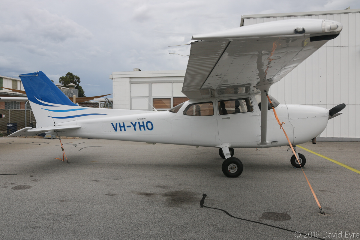 VH-YHO Cessna 172S Skyhawk SP (MSN 172S10838) owned by Airflite Pty Ltd, at Jandakot Airport - Sat 19 March 2016. Recently repainted. Formerly owned by Gulf Golden International Flying College (GGIFA) of Bintulu, Malaysia. Built in 2008, ex 9M-GRM, N6340X. Photo © David Eyre