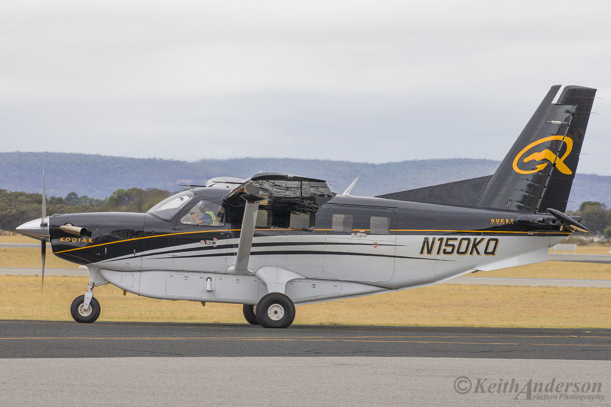 N150KQ Quest Kodiak 100 (MSN 100-0130) pf Quest Aircraft at Jandakot Airport – 23 March 2016. The Kodiak is a 10 seat Turboprop, multi-purpose aircraft. It can take off in under 1,000 feet at full gross weight and at touchdown needs only 705 feet to stop, even on rough, bumpy surfaces with full gross weight of 7,305 pounds. This example carries an external cargo compartment under the fuselage and is seen taxying in, after landing on runway 12 at 12:36 pm. Photo © Keith Anderson (Photographed using Canon camera and lens)