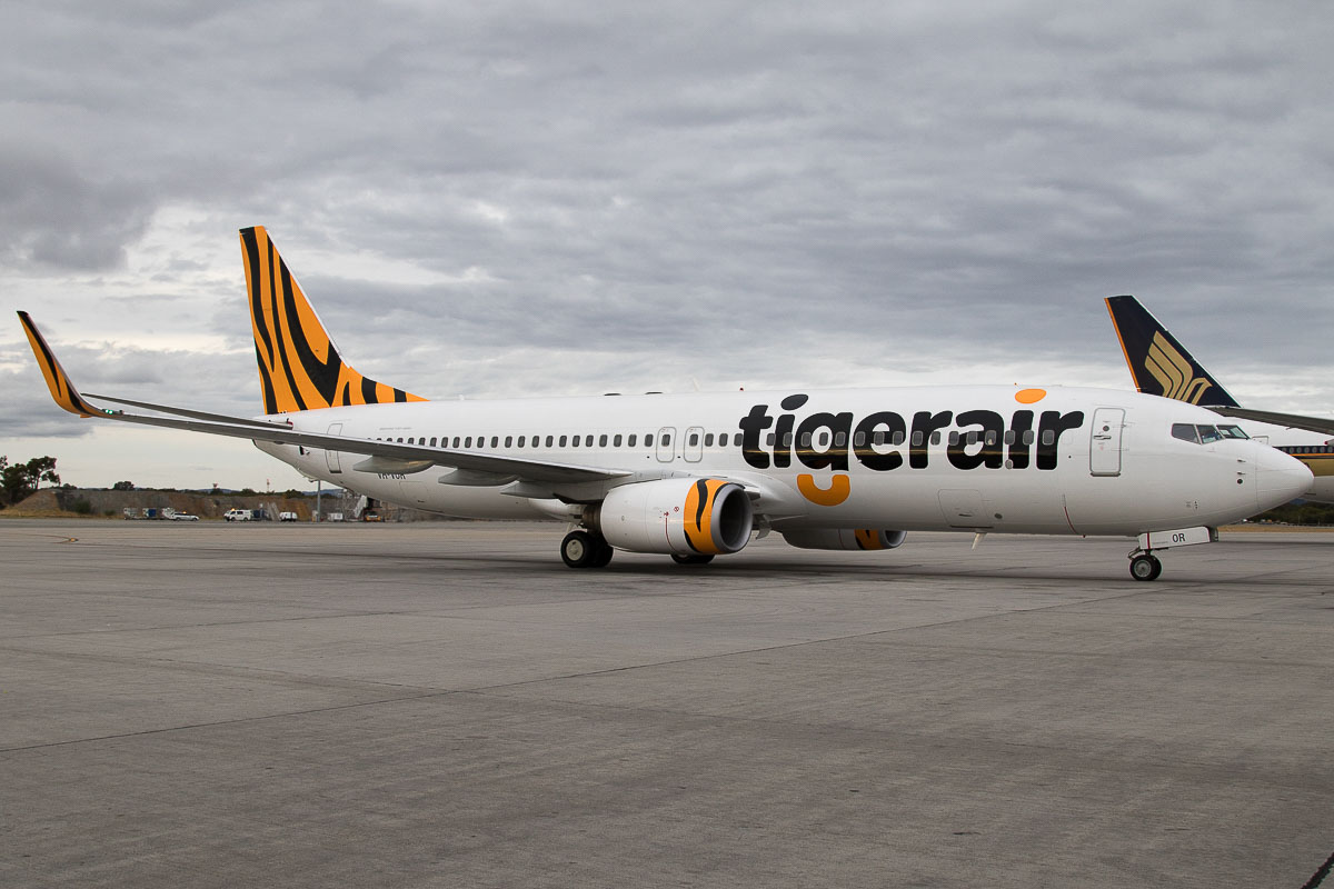 VH-VOR Boeing 737-8FE (MSN 33799/1462) of Tigerair Australia, at Perth Airport - Wed 23 March 2016. The first visit to Perth by a 737-800 of Tigerair and the first Tigerair Australia service from Denpasar to Perth. Flight TZ24 arriving at Bay 152 from Denpasar at 5:17pm. It departed as TT19 back to Denpasar at 7:23pm. Photo © Jim Woodrow