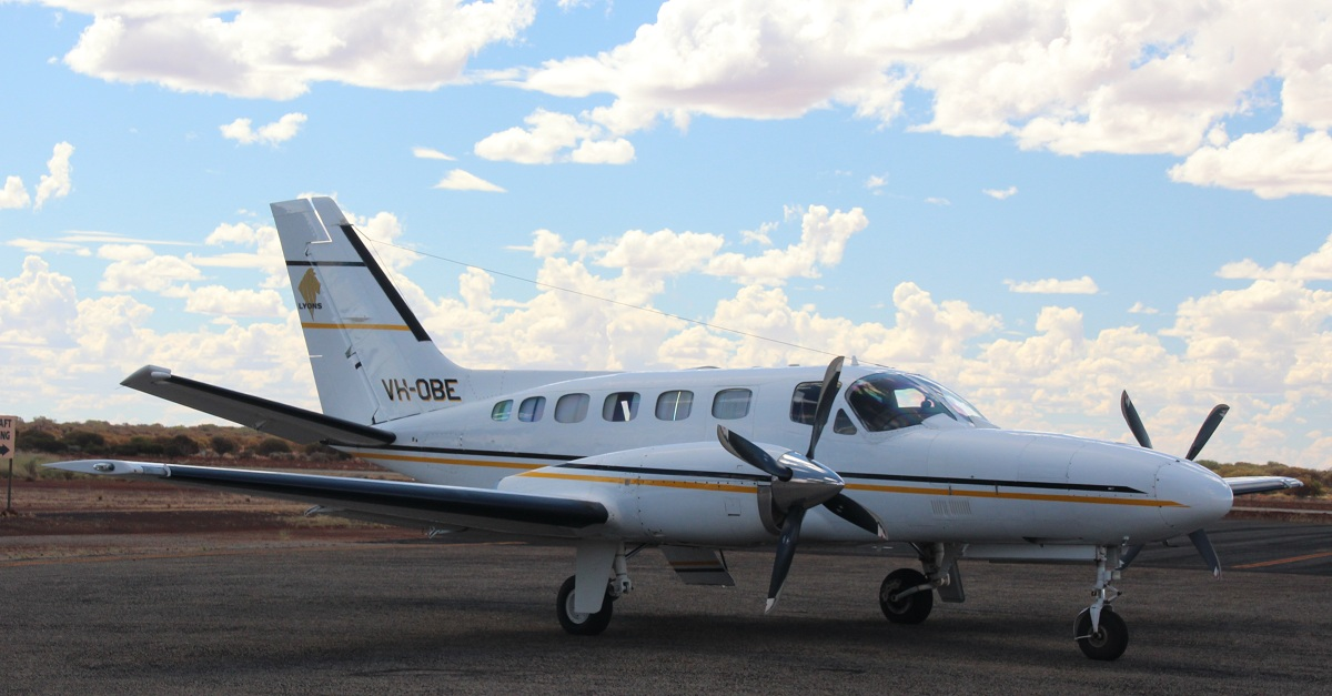 VH-OBE Cessna 441 Conquest (cn 441-0281) of Paul Lyons Aviation (leased from Aerohire Pty Ltd) at Meekatharra Airport – 24 March 2016.
