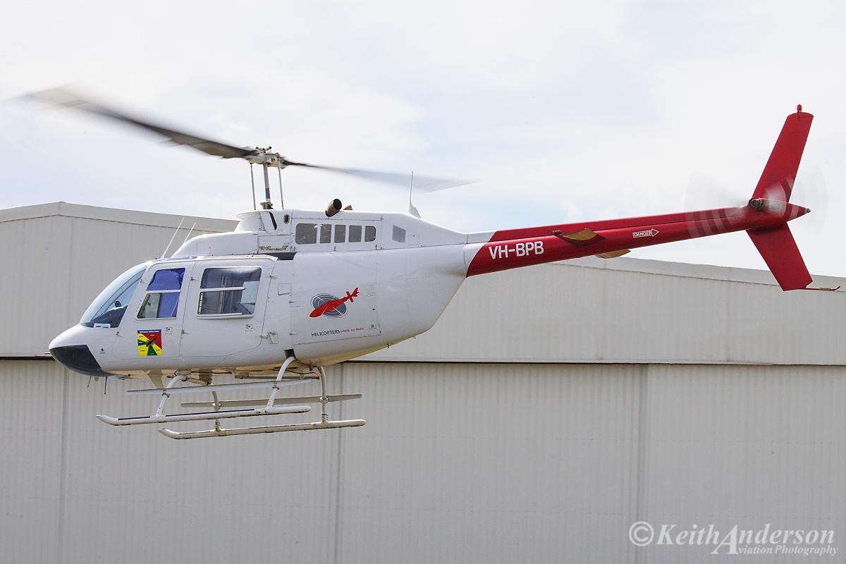 VH-BPB Bell 206B JetRanger III (MSN 3093) of Prestige Helicopters at Jandakot Airport – 25 March 2016. This JetRanger has previously been used by both Channel 9 and Channel Ten News in Perth. Built in 1980, ex ZK-HWA. Photo © Keith Anderson (Photographed using Canon camera and lens)
