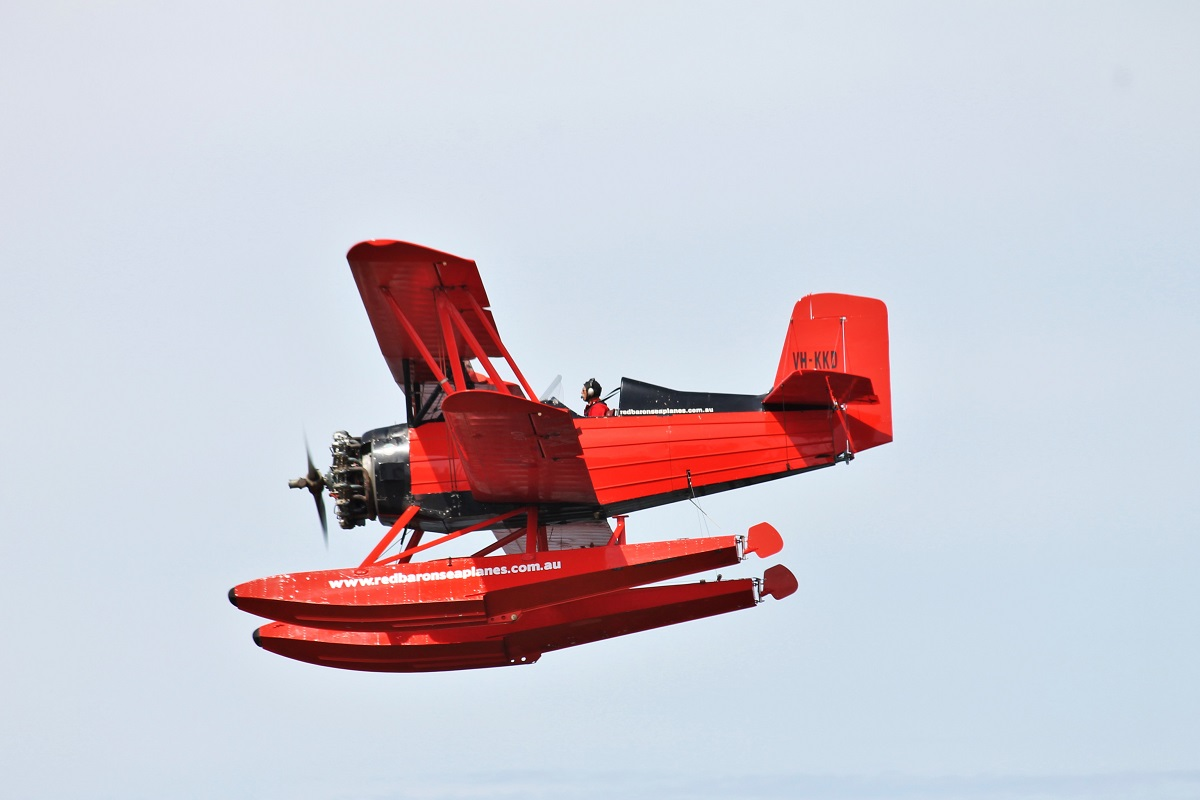 VH-KKD Grumman G-164A Sea-Cat (converted Ag-Cat) (MSN 286) operated by Red Baron Seaplanes (Far North Queensland Airwork Pty Ltd) on the Swan River near Barrack Street Jetty, Perth - Fri 25 March 2016. Second round of trial flights on the Swan River before commencing commercial sightseeing flights. Built in 1964 as an Ag-Cat crop sprayer, registered N724Y. In 1989, it was imported into Australia and registered VH-KKD. The chemical hopper was removed and two passenger seats were installed. In 1992, it was converted to a seaplane 'Sea-Cat'. In 2006, it was acquired by Red Baron Seaplanes and based in Townsville, QLD and was recently moved by road to Perth. It is to spend 6 months in Perth and 6 months in Townsville, operating scenic flights. Photo © Jonathan Williams