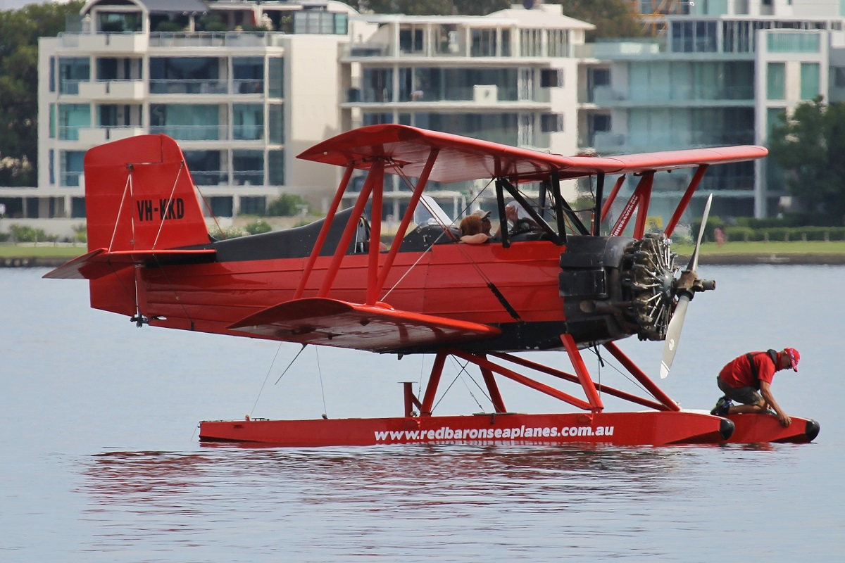 VH-KKD Grumman American Aviation G164 Ag-cat (MSN 286) of Far North Queensland Airwork Pty Ltd on the Swan River at Elizabeth Quay – 25 March 2016.
