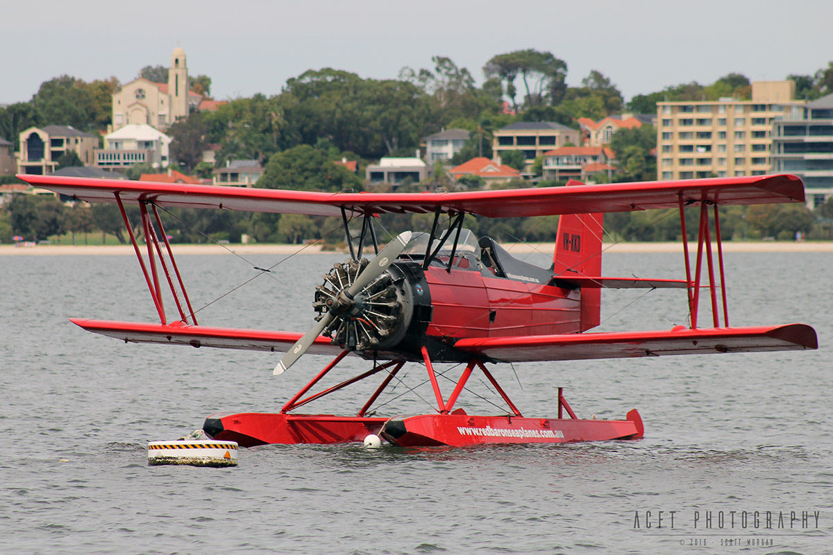 VH-KKD Grumman G-164A Sea-Cat (converted Ag-Cat) (MSN 286) operated by Red Baron Seaplanes (Far North Queensland Airwork Pty Ltd) on the Swan River near Barrack Street Jetty, Perth - Fri 25 March 2016. Second round of trial flights on the Swan River before commencing commercial sightseeing flights. Built in 1964 as an Ag-Cat crop sprayer, registered N724Y. In 1989, it was imported into Australia and registered VH-KKD. The chemical hopper was removed and two passenger seats were installed. In 1992, it was converted to a seaplane 'Sea-Cat'. In 2006, it was acquired by Red Baron Seaplanes and based in Townsville, QLD and was recently moved by road to Perth. It is to spend 6 months in Perth and 6 months in Townsville, operating scenic flights. Photo © Scott Morgan