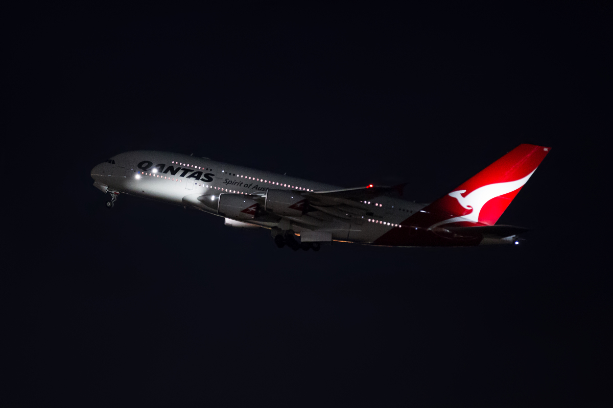 VH-OQK Airbus A380-842 (MSN 063) of Qantas, named 'John Duigan' on left side and 'Richard Duigan' on right side, at Perth Airport - Mon 28 March 2016. First visit to Perth. Emergency medical diversion. Flight QF2 from Dubai to Sydney is seen taking off from Perth's runway 21 at 2:04am to resume its journey to Sydney, after offloading the ill passenger. It had arrived at 12:30am from Dubai. Photo © Marcus Graff