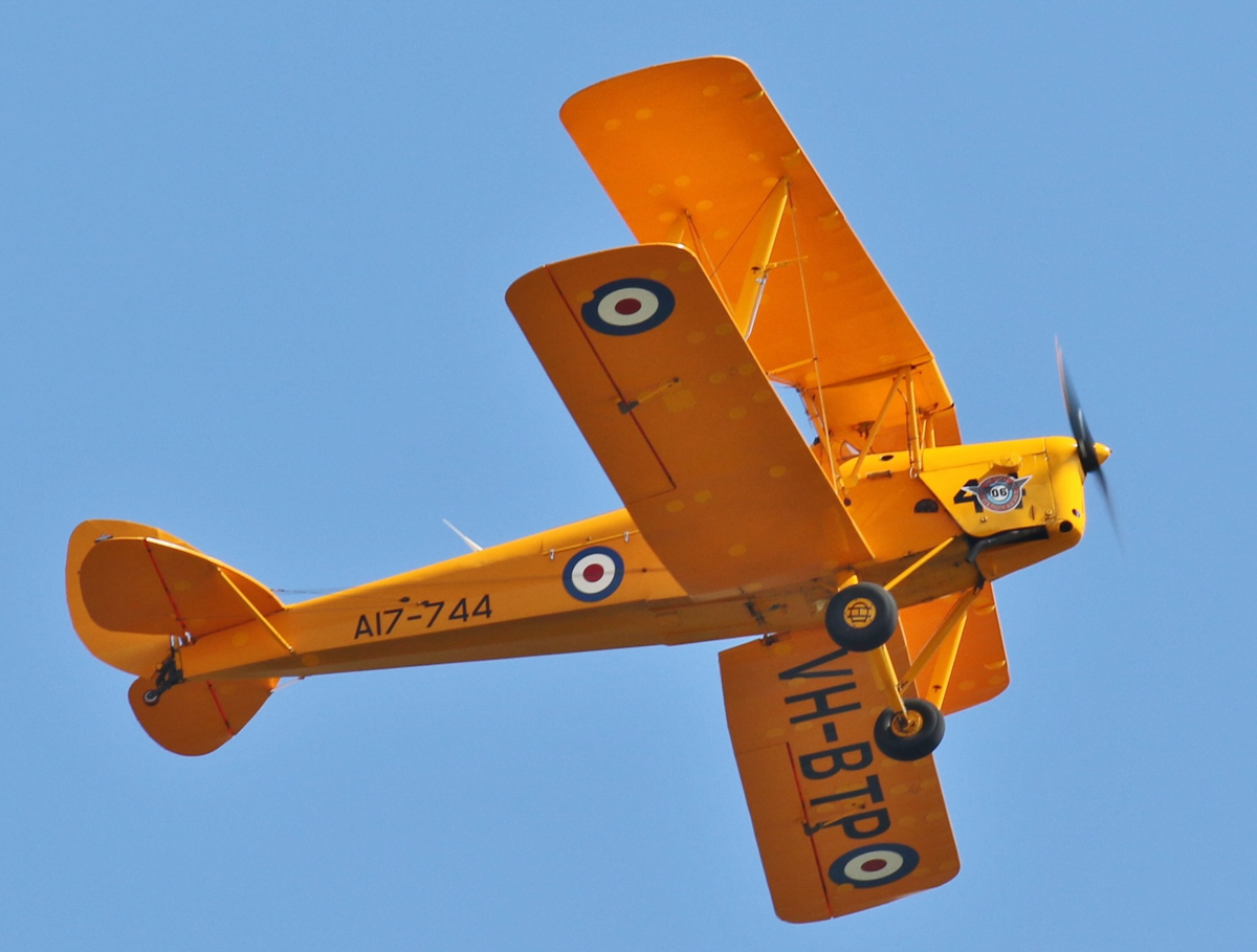 VH-BTP / A17-744 De Havilland DH-82A Tiger Moth (MSN DHA1075/T315) flown by Clark Rees, with David Eyre of AAWA in the front cockpit, over the Swan River, Perth - Tue 26 January 2016 - Australia Day Air Show. Part of the 'Beautiful Biplanes' formation, seen from Langley Park. Photo © Geoff Selby