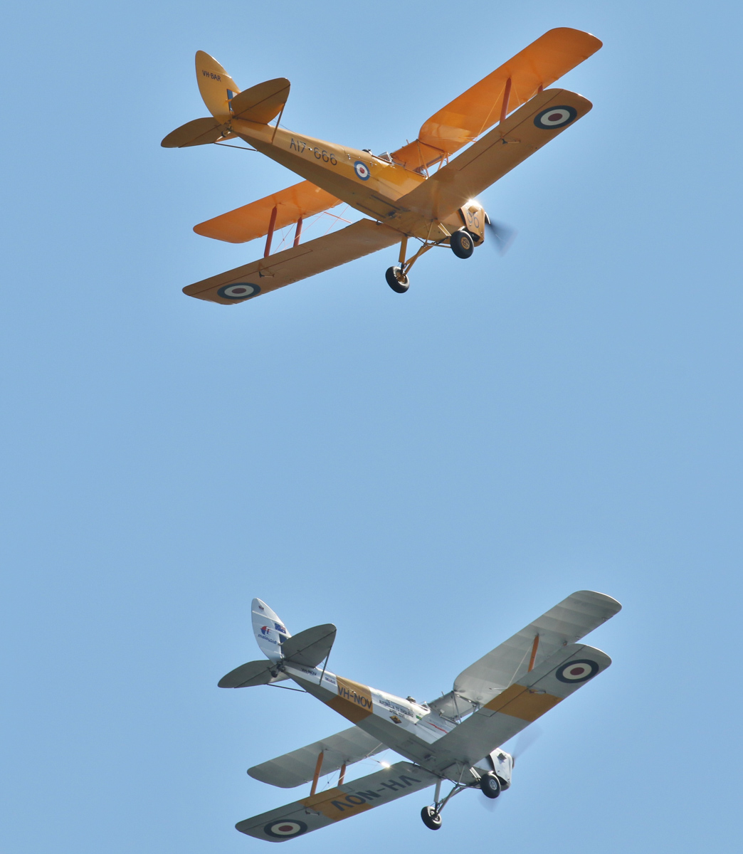 De Havilland DH-82A Tiger Moths VH-BAR/A17-666 (MSN DHA816/T342) flown by Kevin Bailey; and VH-NOV (MSN DHA1088) flown by Barry Markham - over the Swan River, Perth - Tue 26 January 2016 - Australia Day City of Perth Air Show 2016. Seen from Langley Park, as part of the 'Beautiful Biplanes' formation. Photo © Geoff Selby