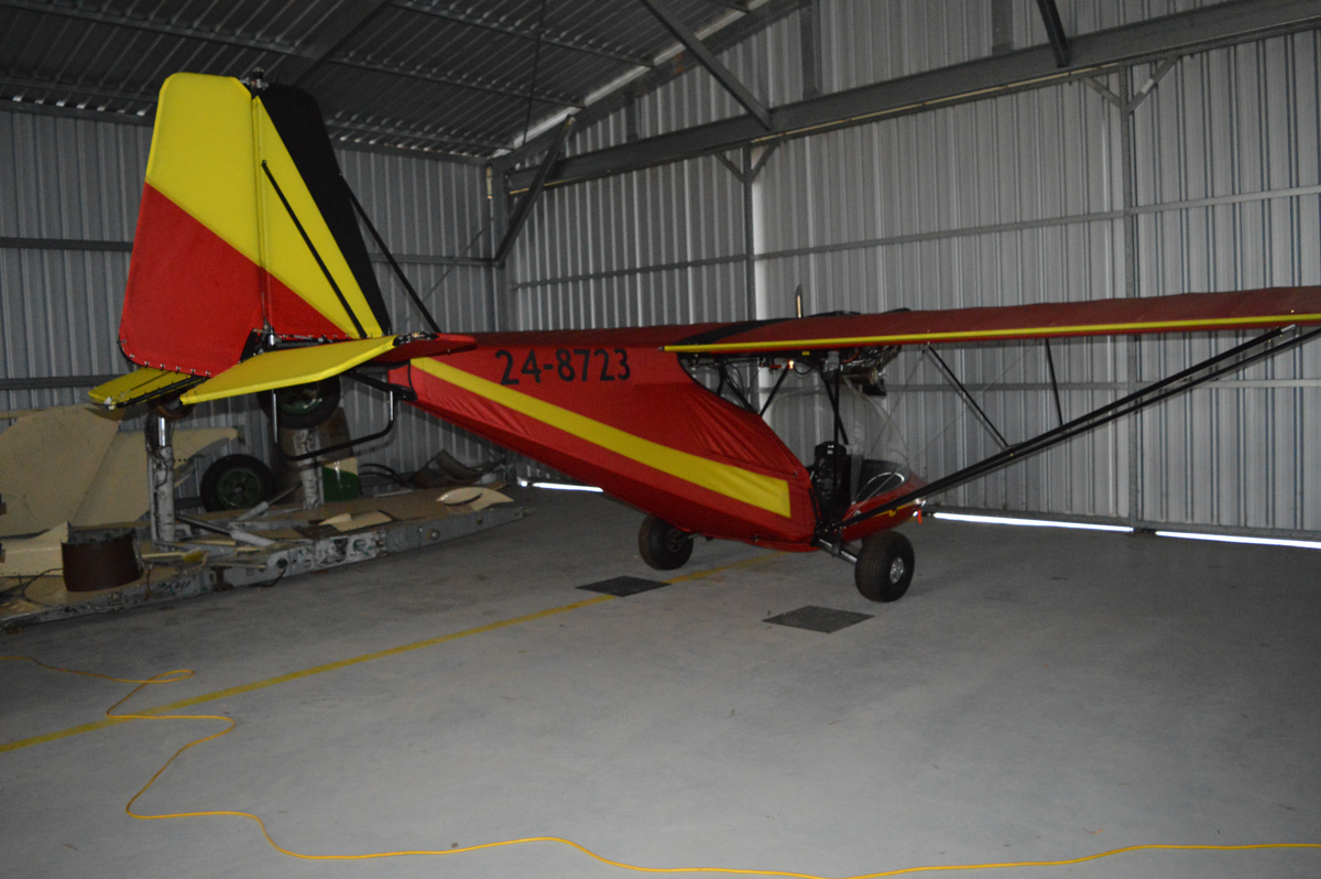 24-8723 Micro Aviation Bat Hawk, at White Gum Farm Airfield (YWGM) - Sat 23 March 2016. Designed and built in South Africa. Photo © Will Carvolth