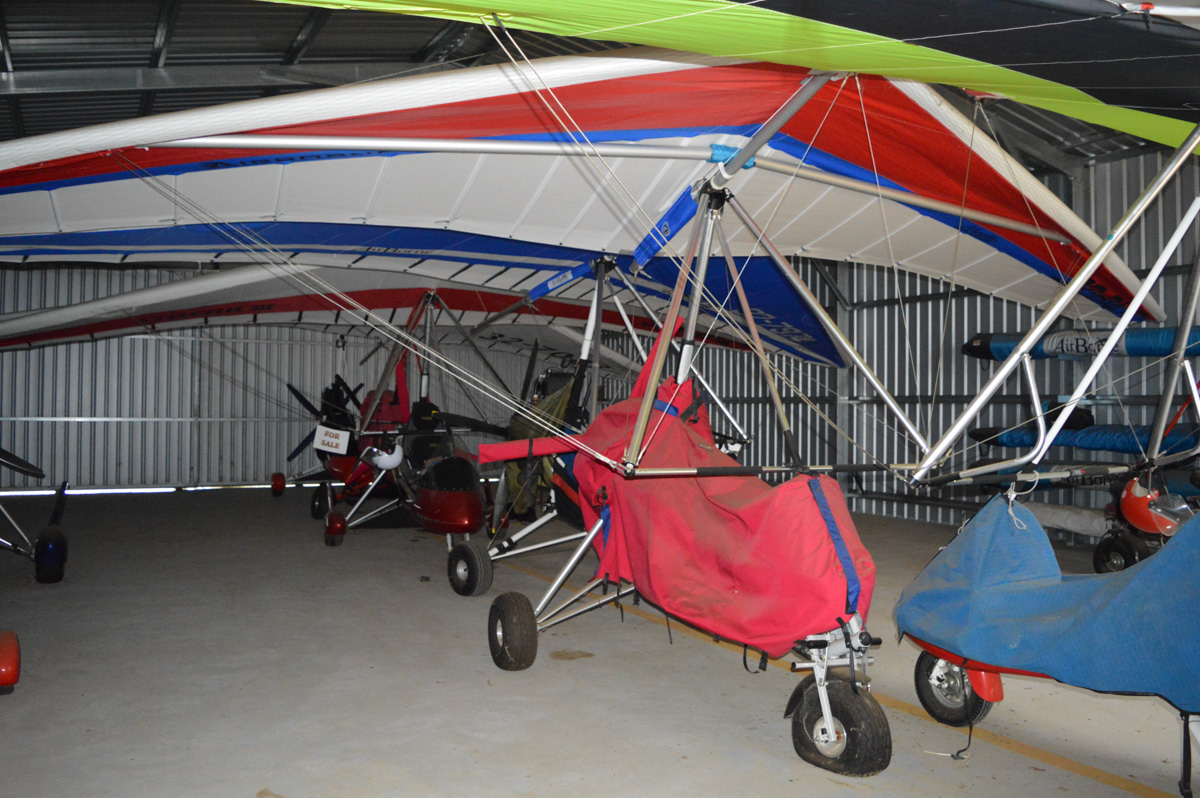 A number of trike ultralights in a hangar at White Gum Farm Airstrip (YWGM) - Sat 23 March 2016. Photo © Will Carvolth