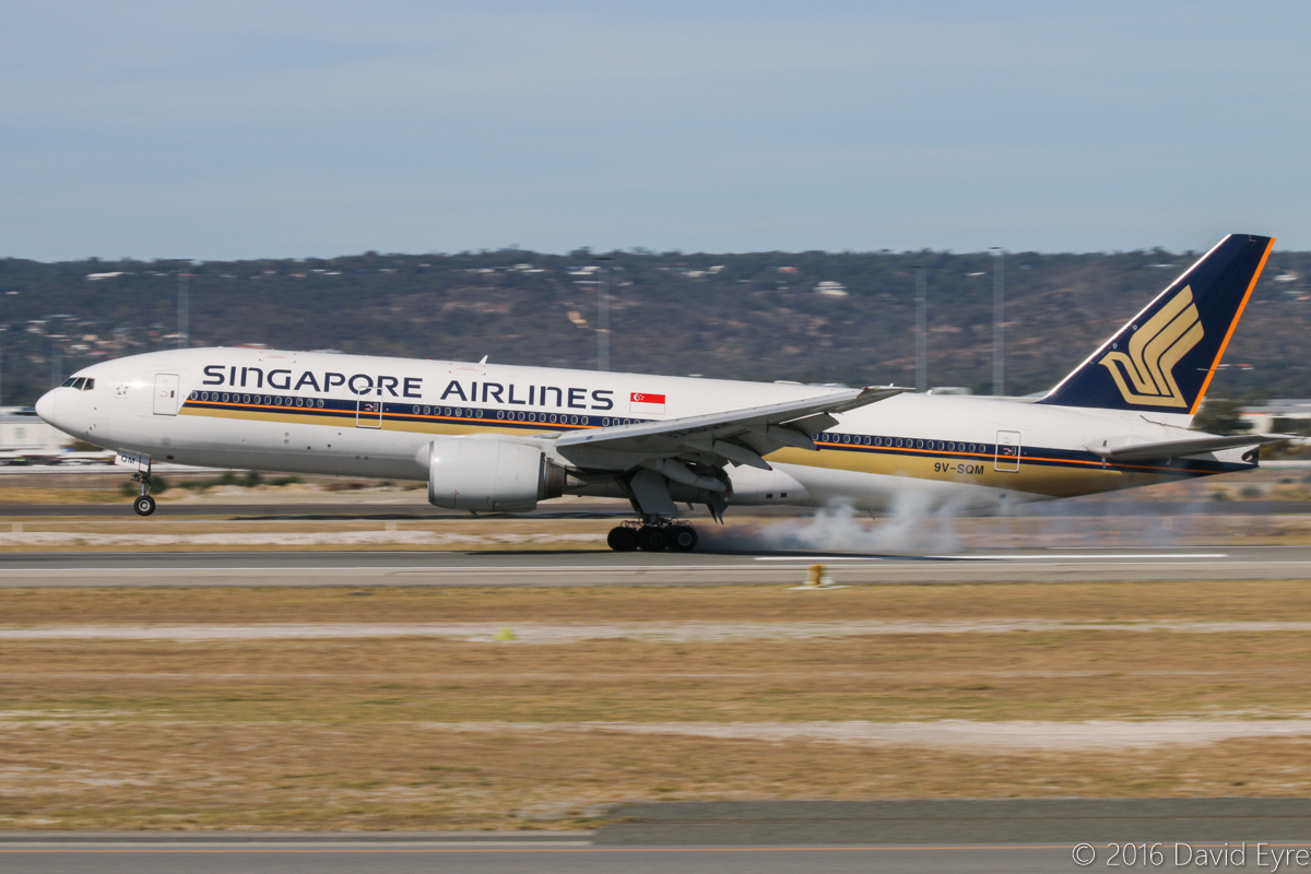 9V-SQM Boeing 777-212ER (MSN 33372/485) of Singapore Airlines at Perth Airport - Sun 3 April 2016. Flight SQ223 from Singapore landing on runway 03 at 2:25pm. Photo © David Eyre