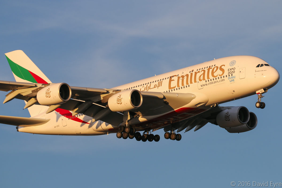 A6-EDC Airbus A380-861 (MSN 016) of Emirates, at Perth Airport - Sun 3 April 2016. Flight EK420 from Dubai, on final approach to runway 21 at 5:48pm. Photo © David Eyre
