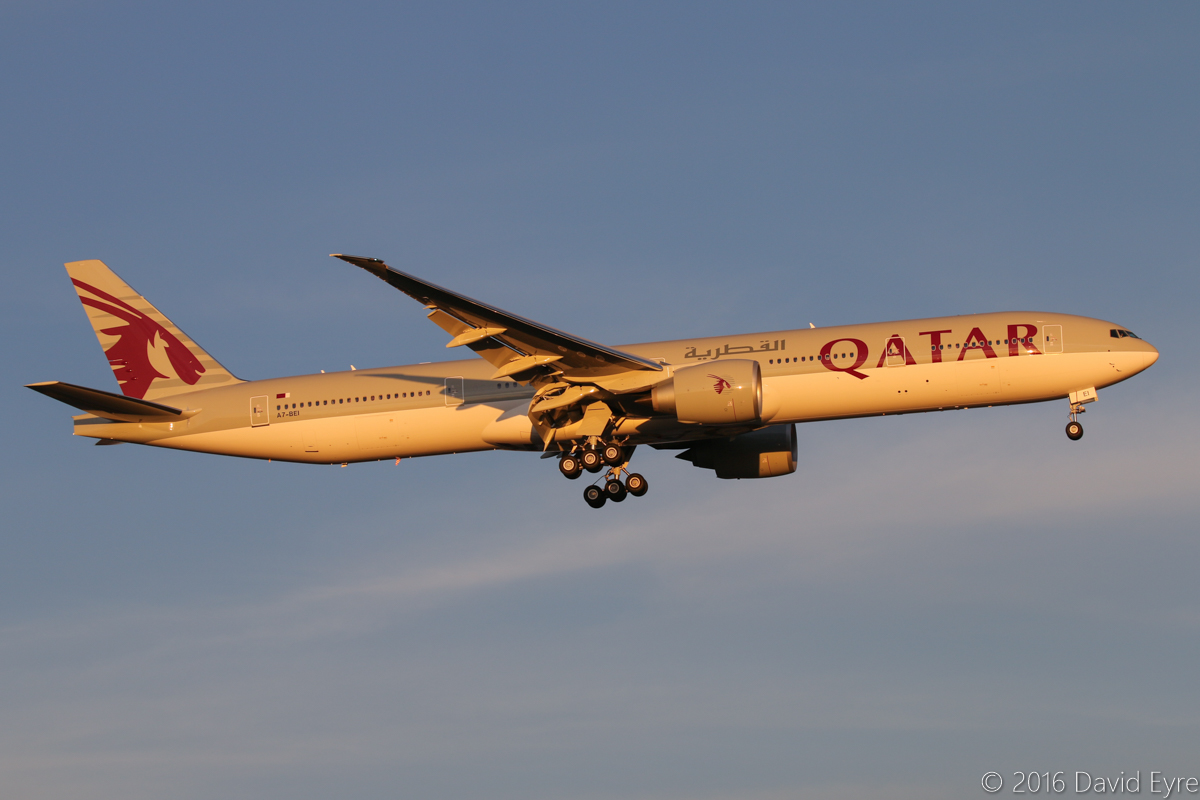 A7-BEI Boeing 777-3DZER (MSN 60335/1384) of Qatar Airways, at Perth Airport - Sun 3 April 2016. First visit to Perth by A7-BEI. Flight QR902 from Doha is seen here on final approach to runway 21 at 5.55pm. It was the newest 777-300ER in their fleet at the time of this photo, having made its first flight on 2 March 2016 as N5028Y, and it was delivered as A7-BEI on 24-25 March 2016. Photo © David Eyre