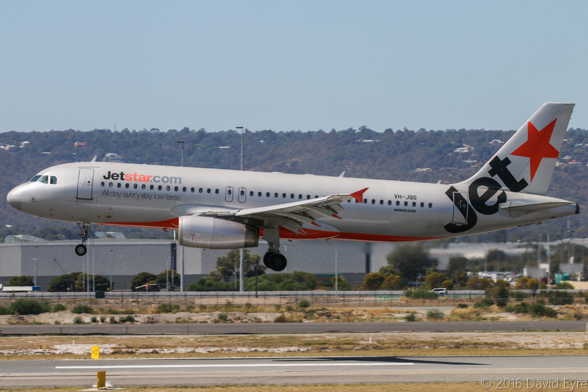 VH-JQG Airbus A320-232 (MSN 2169) of Jetstar, at Perth Airport - Sun 3 April 2016. The oldest A320 in Jetstar's fleet, this 12-year old aircraft is nicknamed 'Patches', due to its patchy paint scheme. Seen landing on runway 03 at 11:52am as JQ117 from Denpasar (Bali). Photo © David Eyre