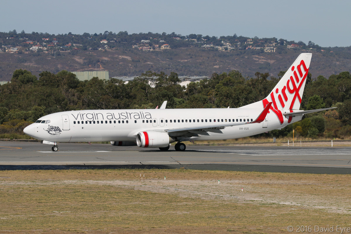 VH-VUX Boeing 737-8FE (cn 37823/3415) of Virgin Australia, named 'Nightcliff Beach', at Perth Airport - Sun 3 April 2016. Flight VA469 to Brisbane, taking off from runway 03 at 2:27pm. Photo © David Eyre