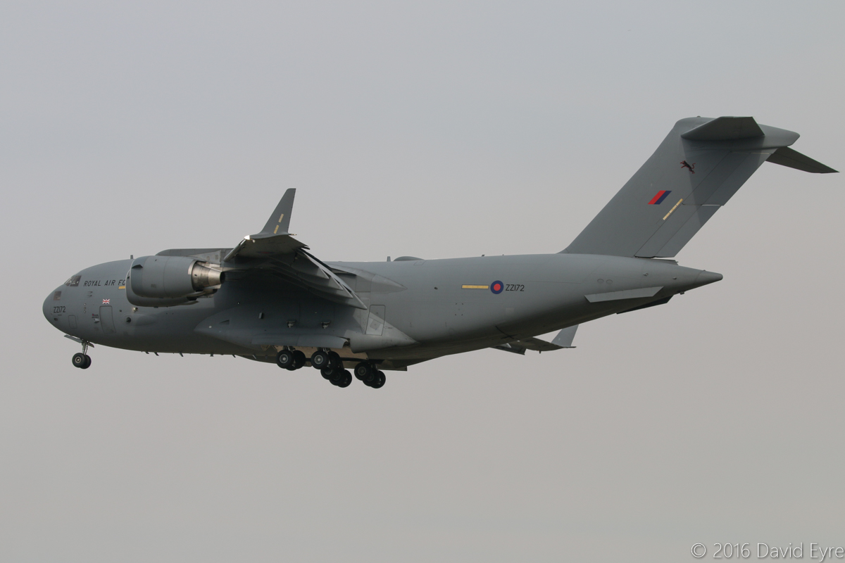 ZZ172 Boeing C-17A Globemaster III (MSN 50079/F078/UK2) of 99 Squadron, Royal Air Force, at Perth airport – 7 April 2016) Based at RAF Brize Norton, UK, 'ASCOT 6391' is seen arriving from Christchurch, New Zealand, landing on runway 06 at 3:13pm. Photo © David Eyre