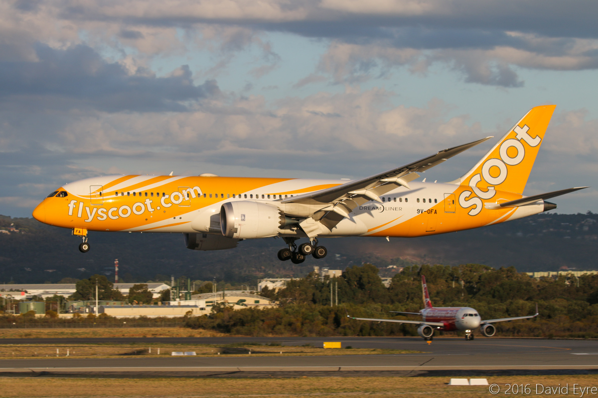 9V-OFA Boeing 787-8 DreamLiner (MSN 37117/314), of Scoot, named 八宝 (which translates as 'Eight Treasures' in English), at Perth Airport – Sun 10 April 2016. Flight TZ8 from Singapore, landing runway 03 at 5:18 pm. PK-AZF Airbus A320 of Indonesia AirAsia is holding on the taxiway C11 in the background, waiting to depart to Bali. Photo © David Eyre