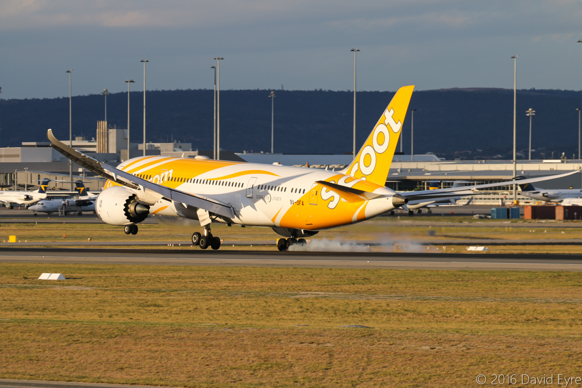 9V-OFA Boeing 787-8 DreamLiner (MSN 37117/314), of Scoot, named 八宝 (which translates as 'Eight Treasures' in English), at Perth Airport – Sun 10 April 2016. Flight TZ8 from Singapore, landing runway 03 at 5:18 pm. Photo © David Eyre