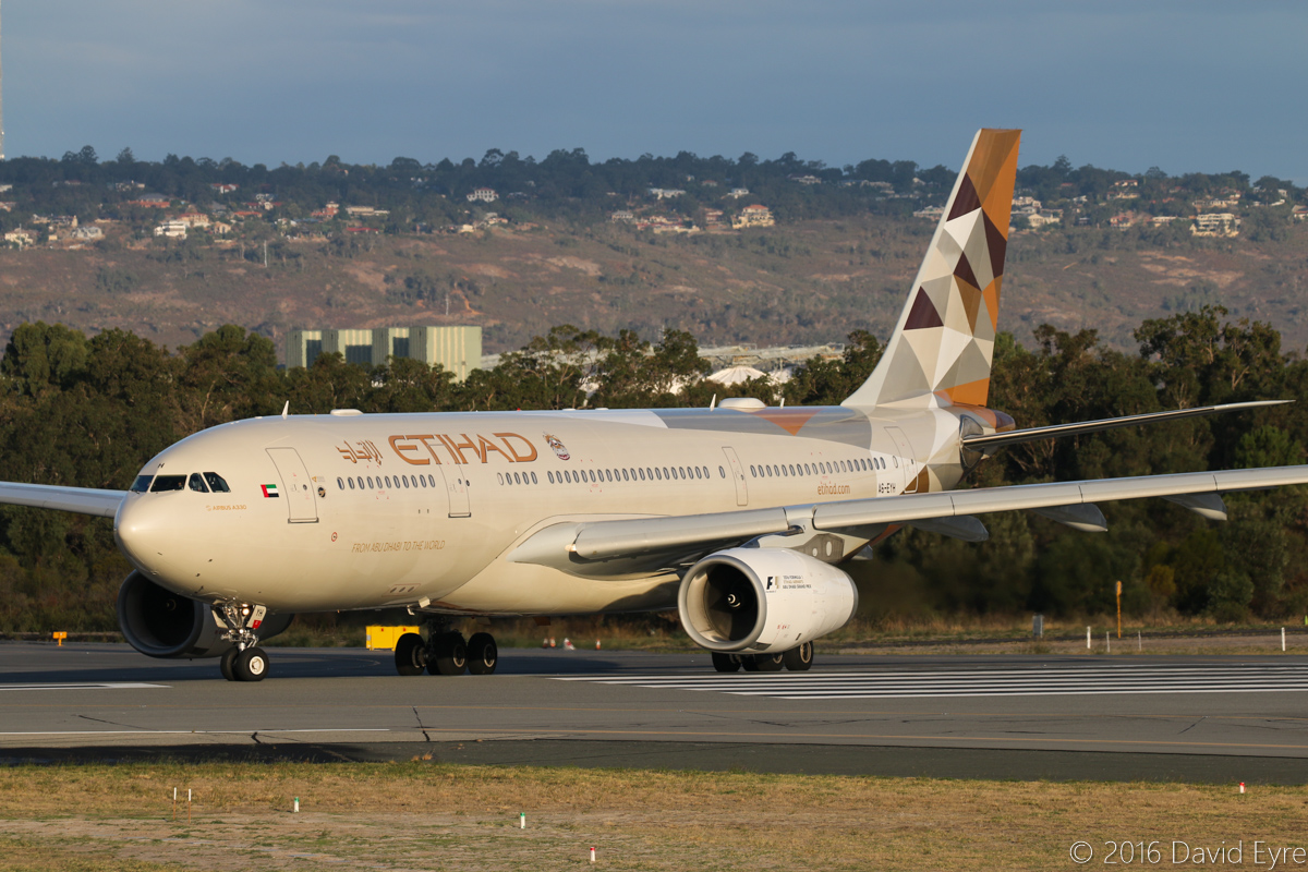 A6-EYH Airbus A330-243 (MSN 729) of Etihad Airways at Perth Airport – Sun 10 April 2016. Flight EY487 to Abu Dhabi is seen on lining up on runway 03 at 5:10pm. This aircraft previously wore the Expo 2015 Milan livery, but during early January 2016 was repainted in the new Etihad colours. Photo © David Eyre