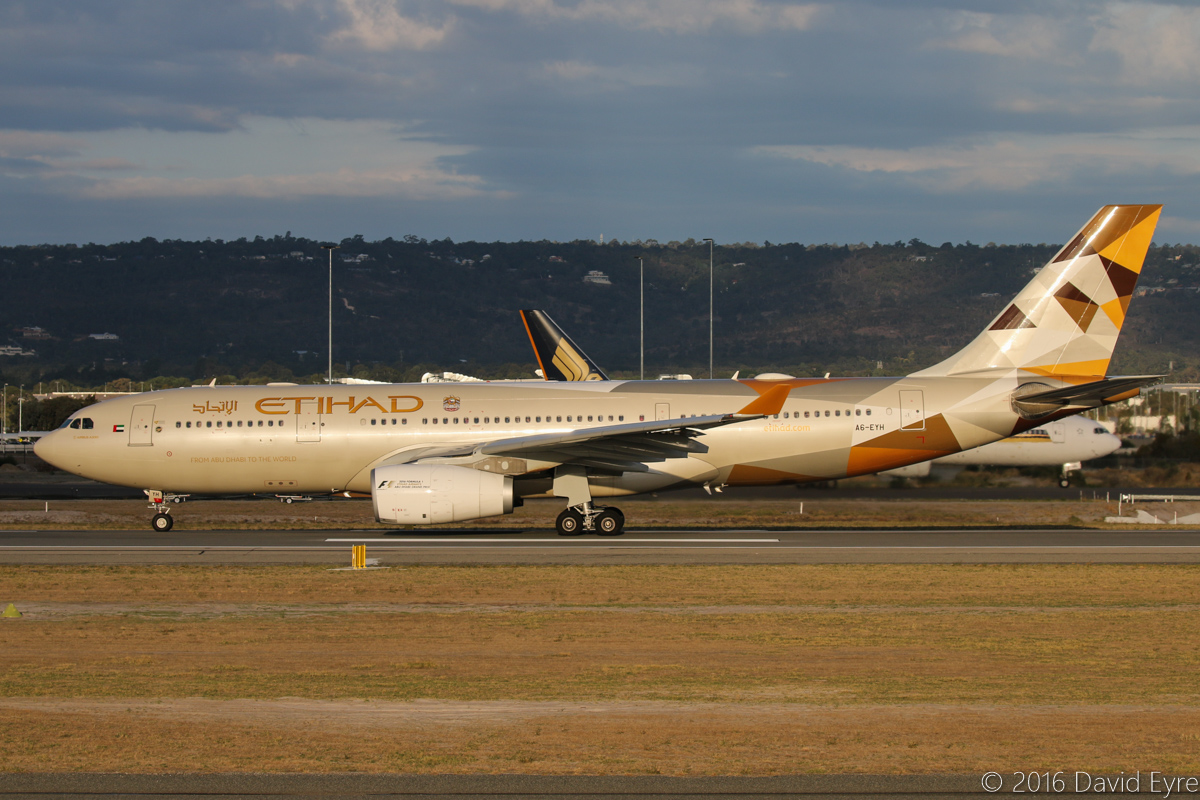 A6-EYH Airbus A330-243 (MSN 729) of Etihad Airways at Perth Airport – Sun 10 April 2016. Flight EY487 to Abu Dhabi taking off from runway 03 at 5:11pm. This aircraft previously wore the Expo 2015 Milan livery, but during early January 2016 was repainted in the new Etihad colours. Photo © David Eyre