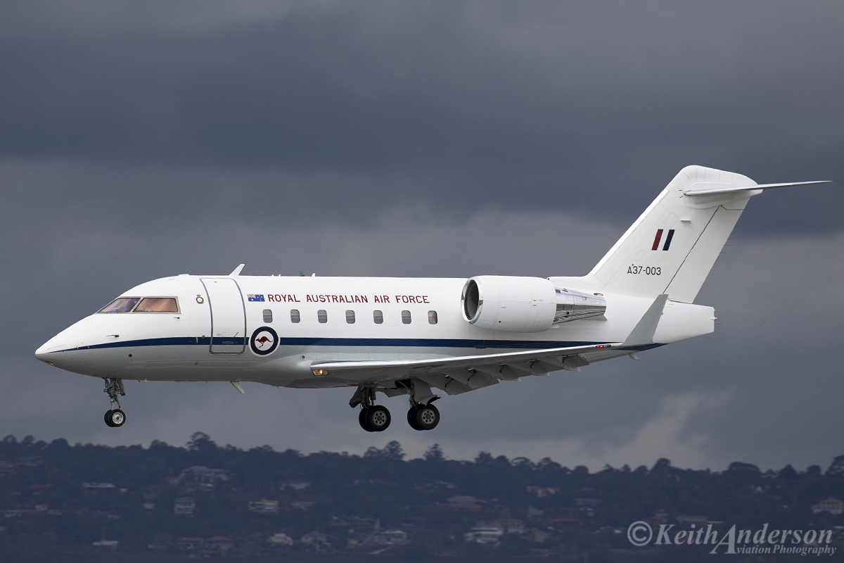 A37-003 Bombardier CL-600-2B16 Challenger 604 (MSN 5538) of 34 Squadron, RAAF, based at RAAF Fairbairn, Canberra, ACT at Perth Airport – 12 April 2016.
