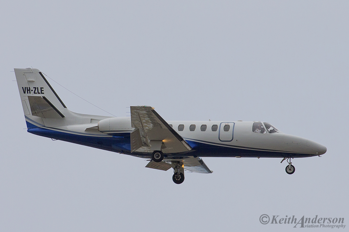 VH-ZLE Cessna 550 Citation (MSN 550-0347) of Corporate Aircraft Charter Pty Ltd at Perth Airport – 12 April 2016.