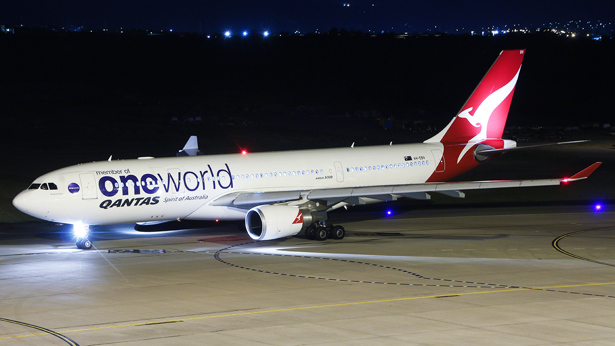 "VH-EBV Airbus A330-202 (MSN 1365) of Qantas (leased from CIT Aerospace), with Oneworld titles, named ""Kangaroo Island"" at Perth Airport – 15 April 2016."